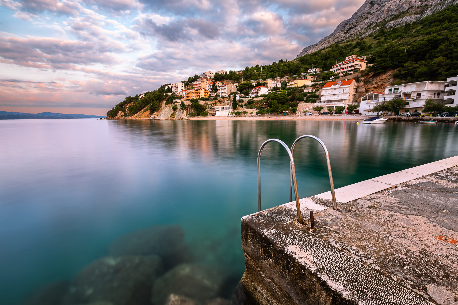 Stone Jetty in Small Village near Omis at Dawn, Dalmatia, Croatia