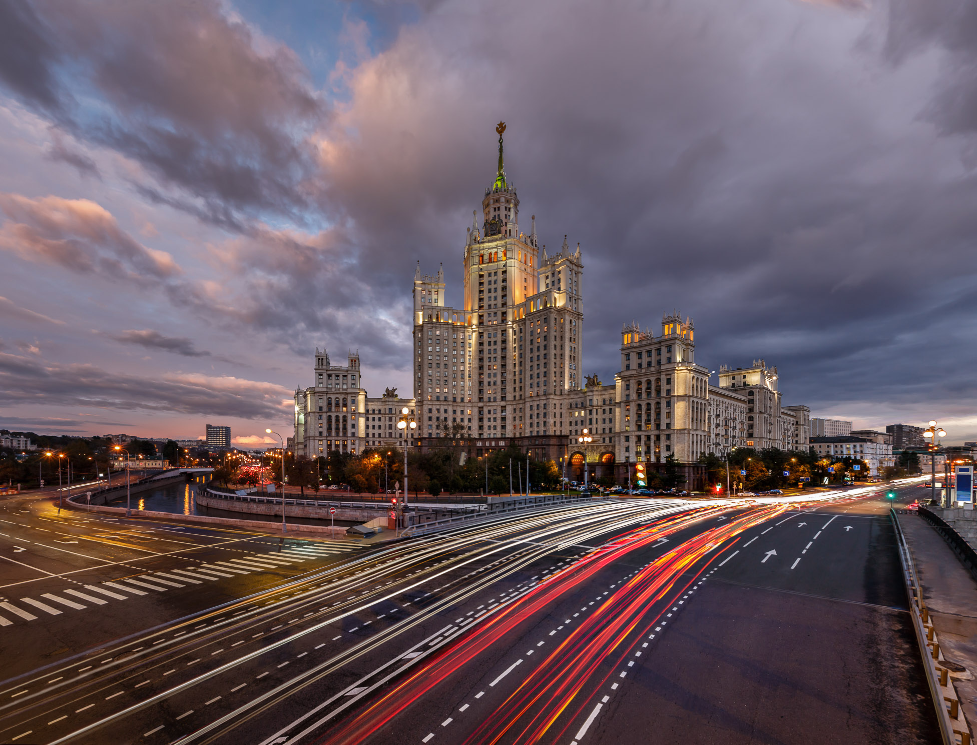 Skyscraper on Kotelnicheskaya Embankment and Traffic Trails at Dusk, Moscow, Russia