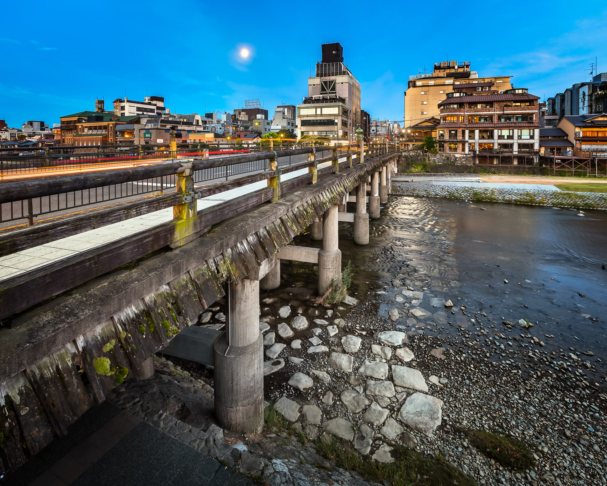 Sanjo Ohashi Bridge and Kamo River at Dawn, Kyoto, Japan