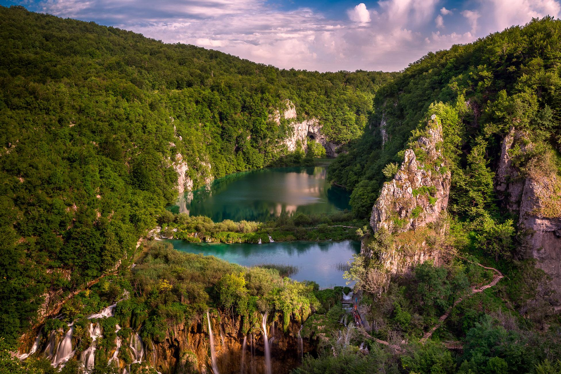 Aerial View on Waterfalls in Plitvice National Park, Donja Jezera, Croatia