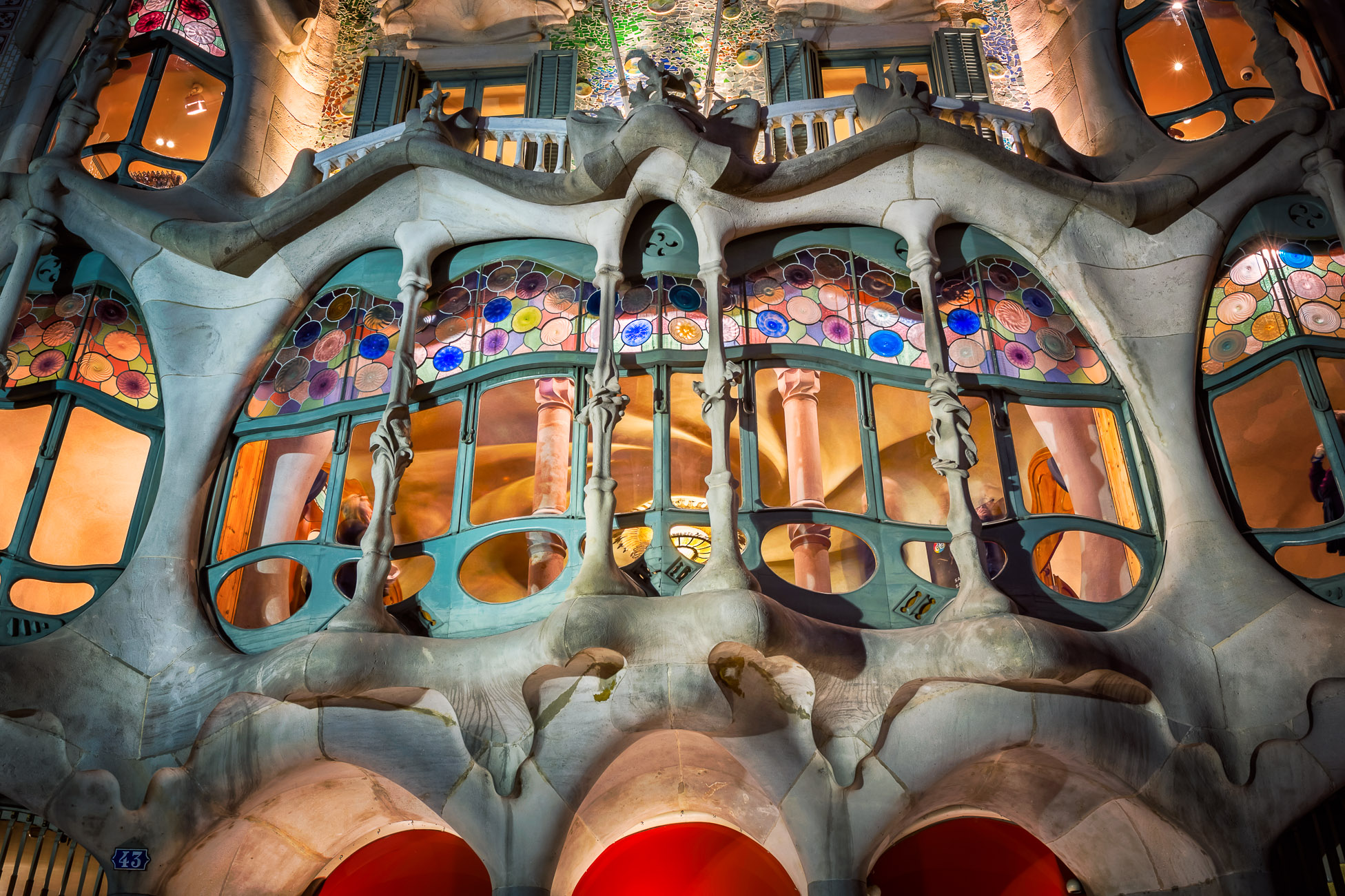Illuminated Casa Batllo Facade, designed by Antonio Gaudi, Barcelona, Spain