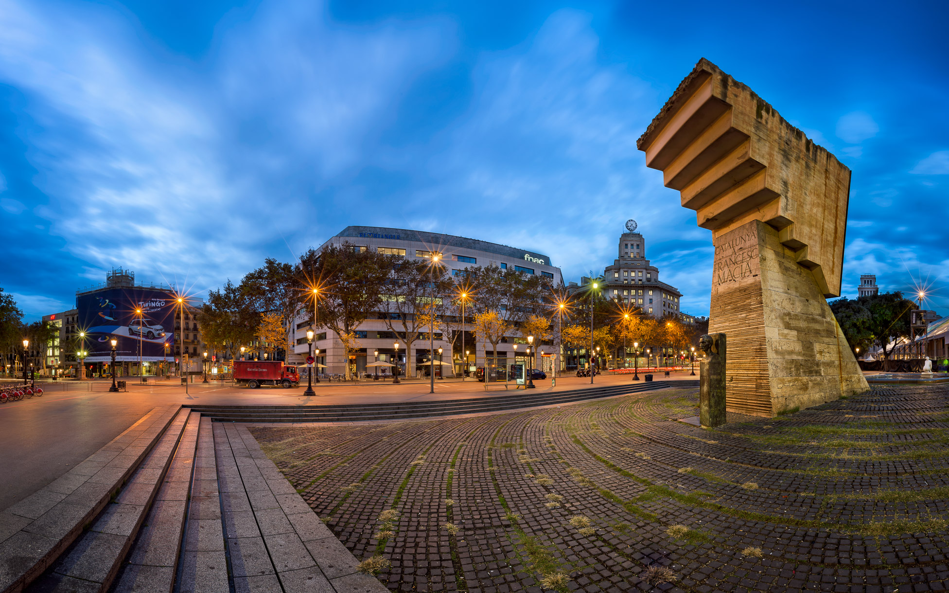 Panorama of Placa de Catalunya in the Morning, Barcelona, Spain
