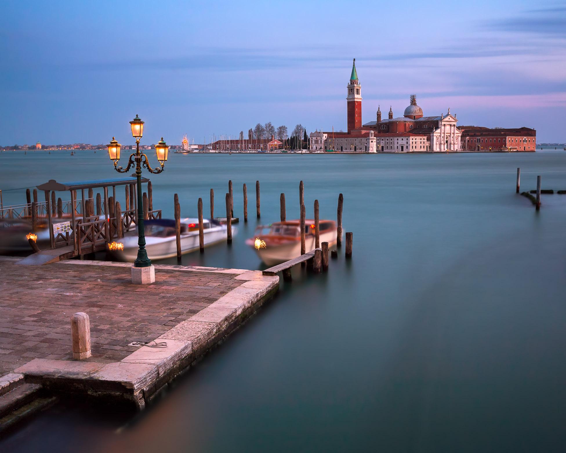 Venetian Lagoon and San Giorgio Maggiore Church in the Evening, Venice, Italy