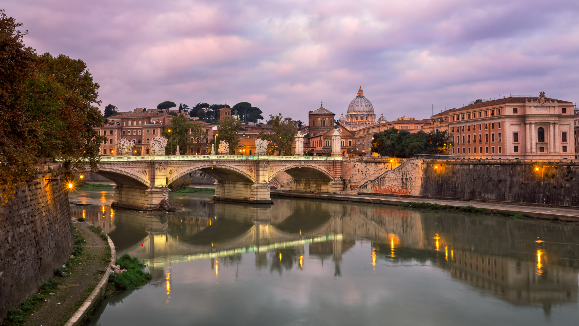 Saint Peter's Cathedral and Vittorio Emmanuele II Bridge in the Morning, Rome, Italy