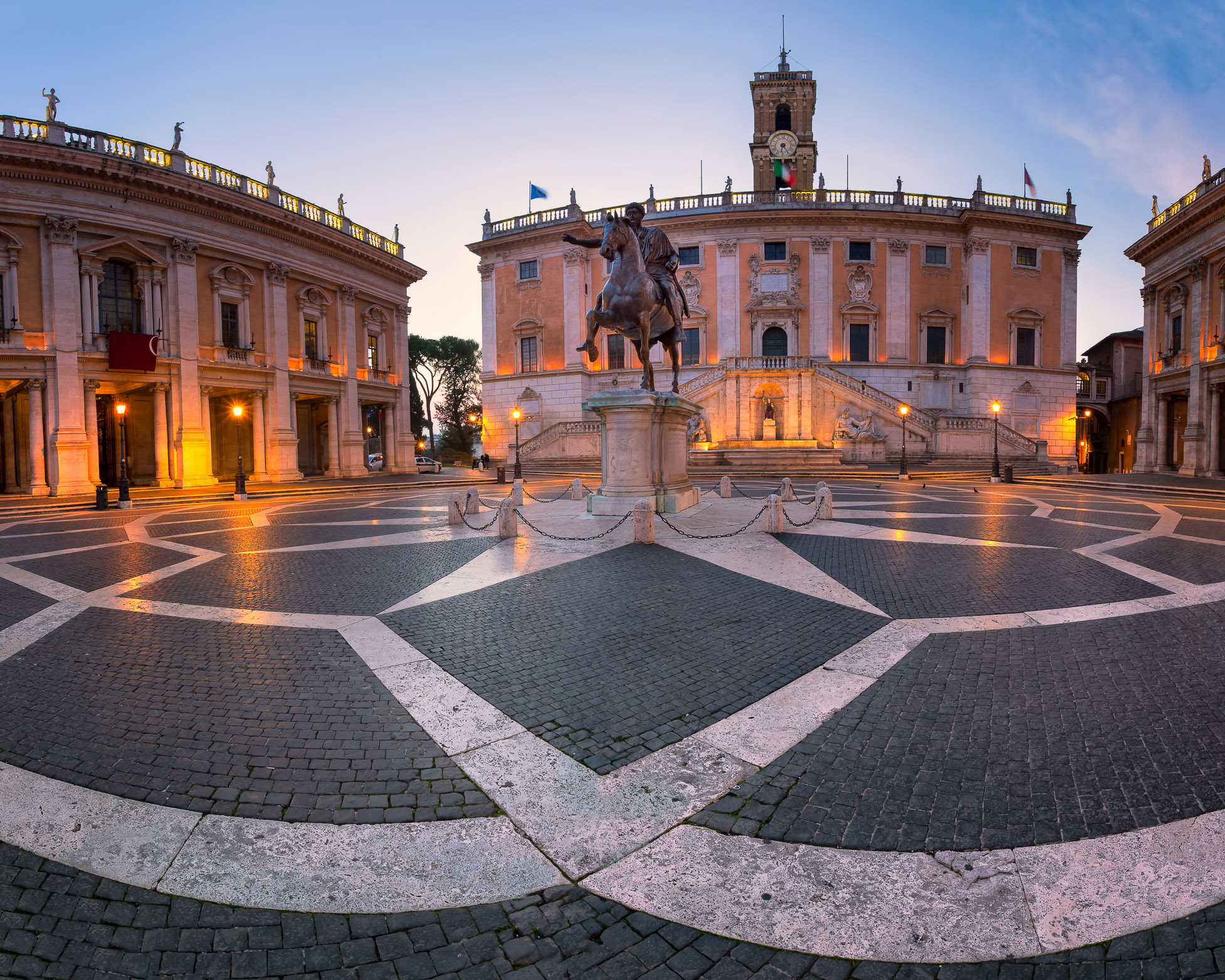 Piazza del Campidoglio and Emperor Marcus Aurelius Statue in the Morning, Rome, Italy