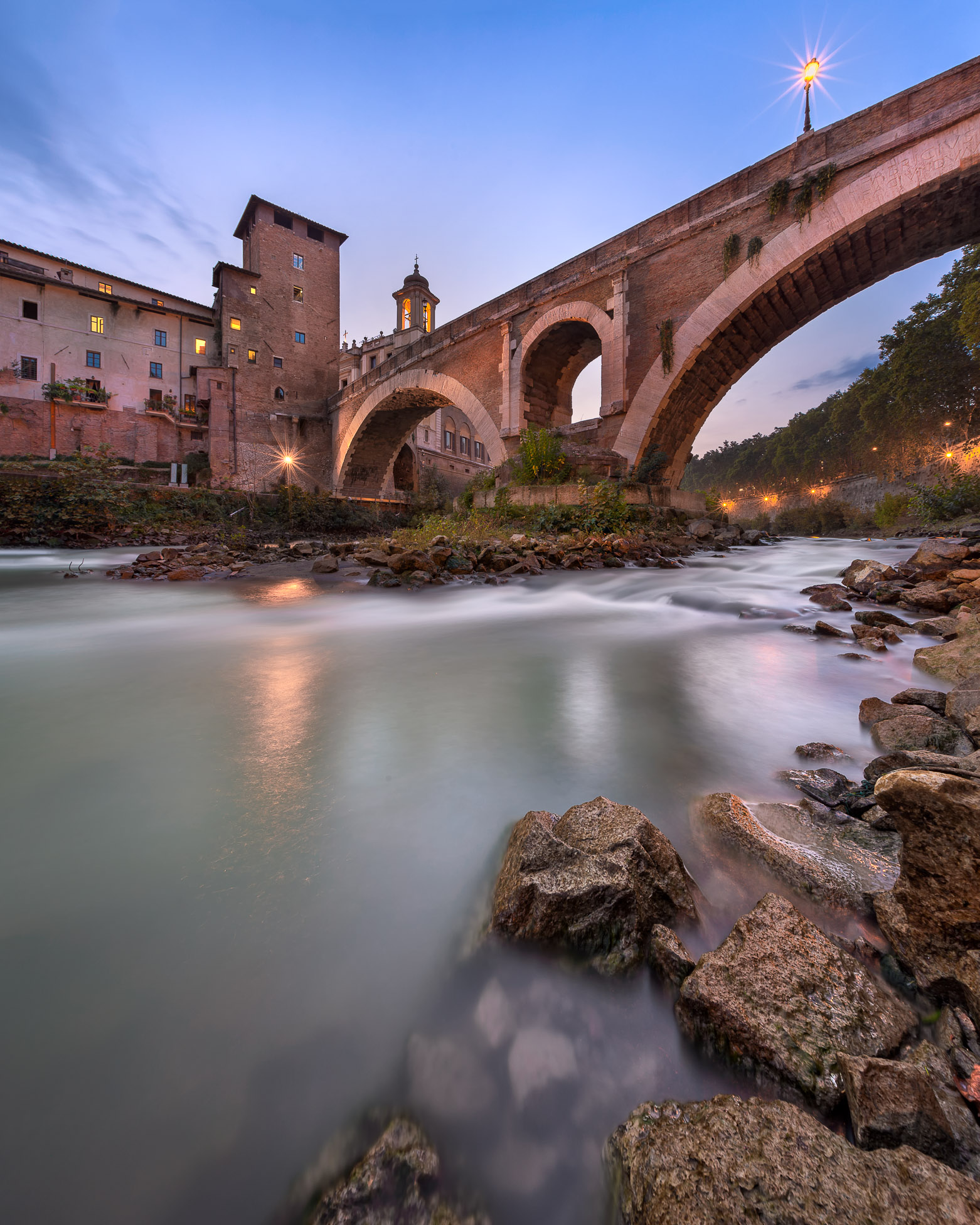 Fabricius Bridge and Tiber Island in the Evening, Rome, Italy