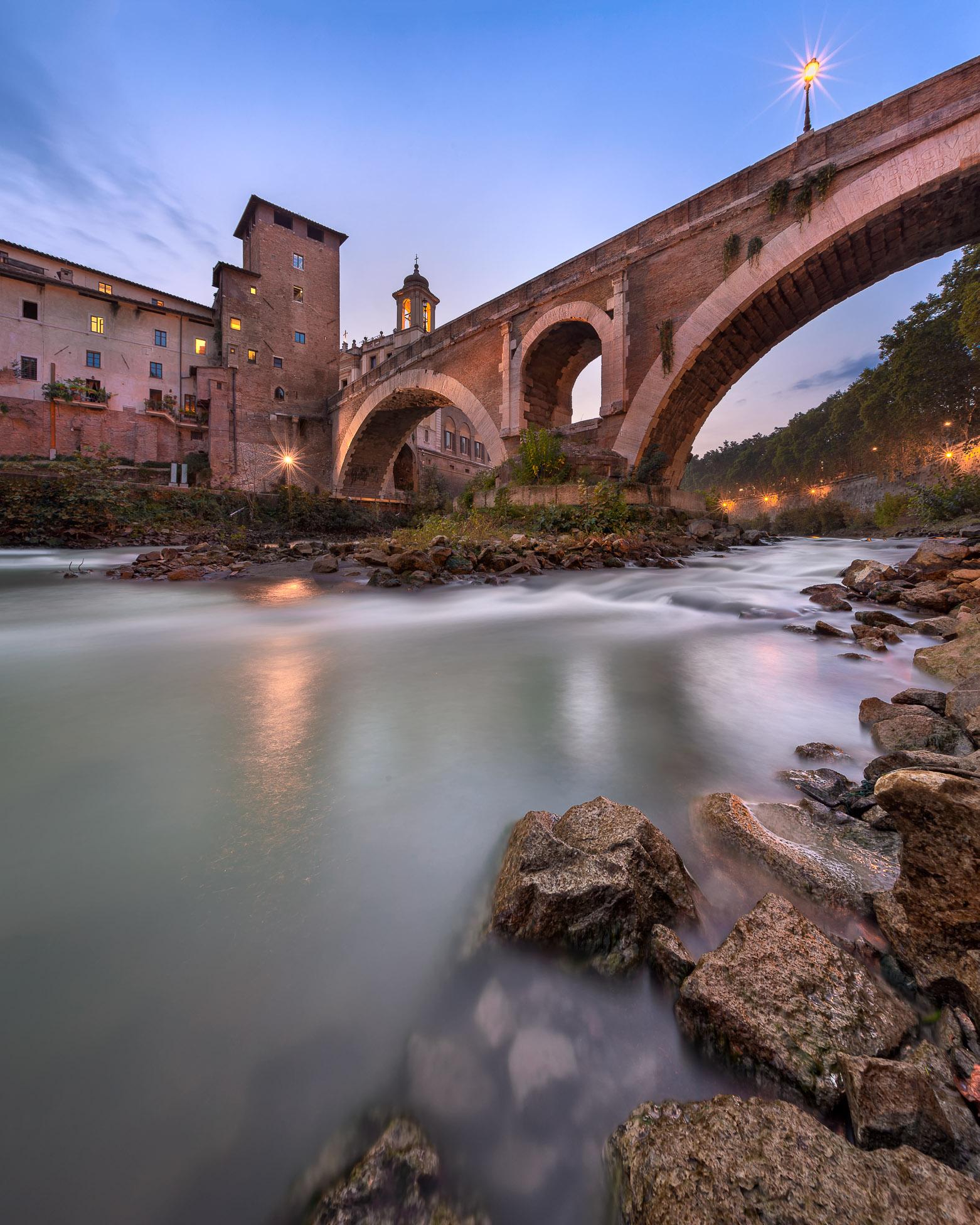 Fabricius Bridge and Tiber Island in the Evening, Rome, Italy