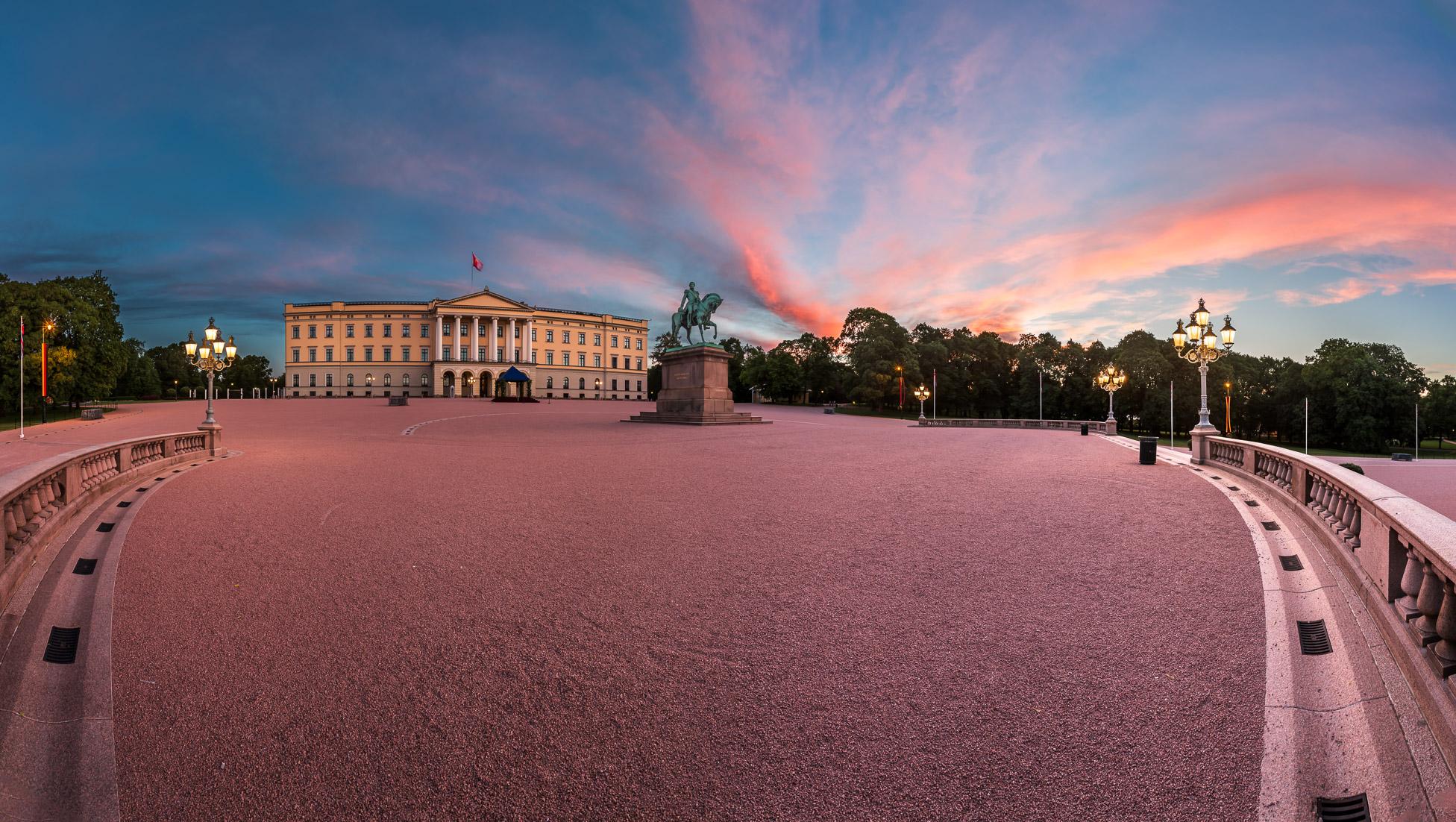 The Royal Palace and Statue of King Karl Johan at Sunrise, Oslo, Norway