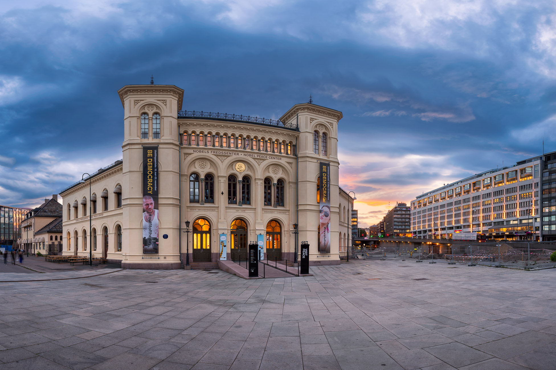 Panorama of Nobel Peace Center in the Evening, Oslo, Norway