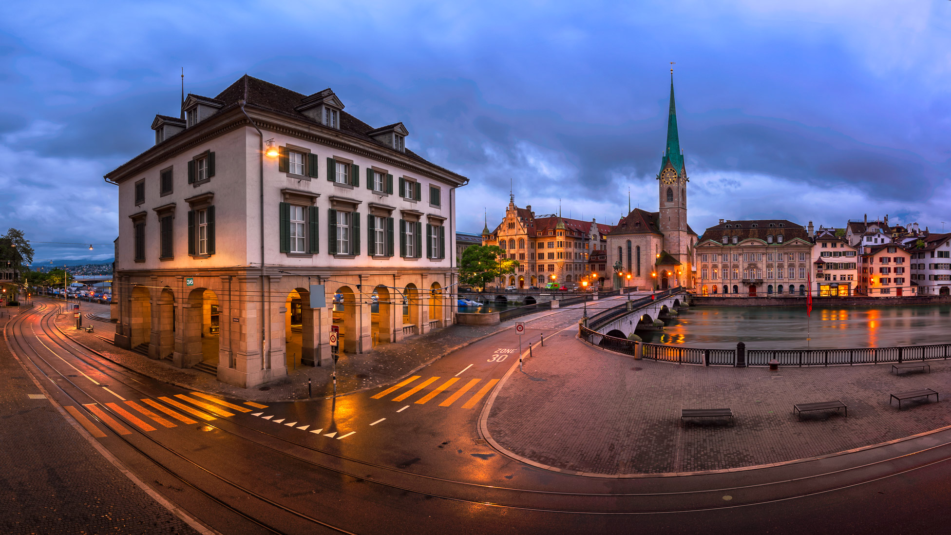 Panorama of Helmhaus and Fraumunster Church in the Morning, Zurich, Switzerland