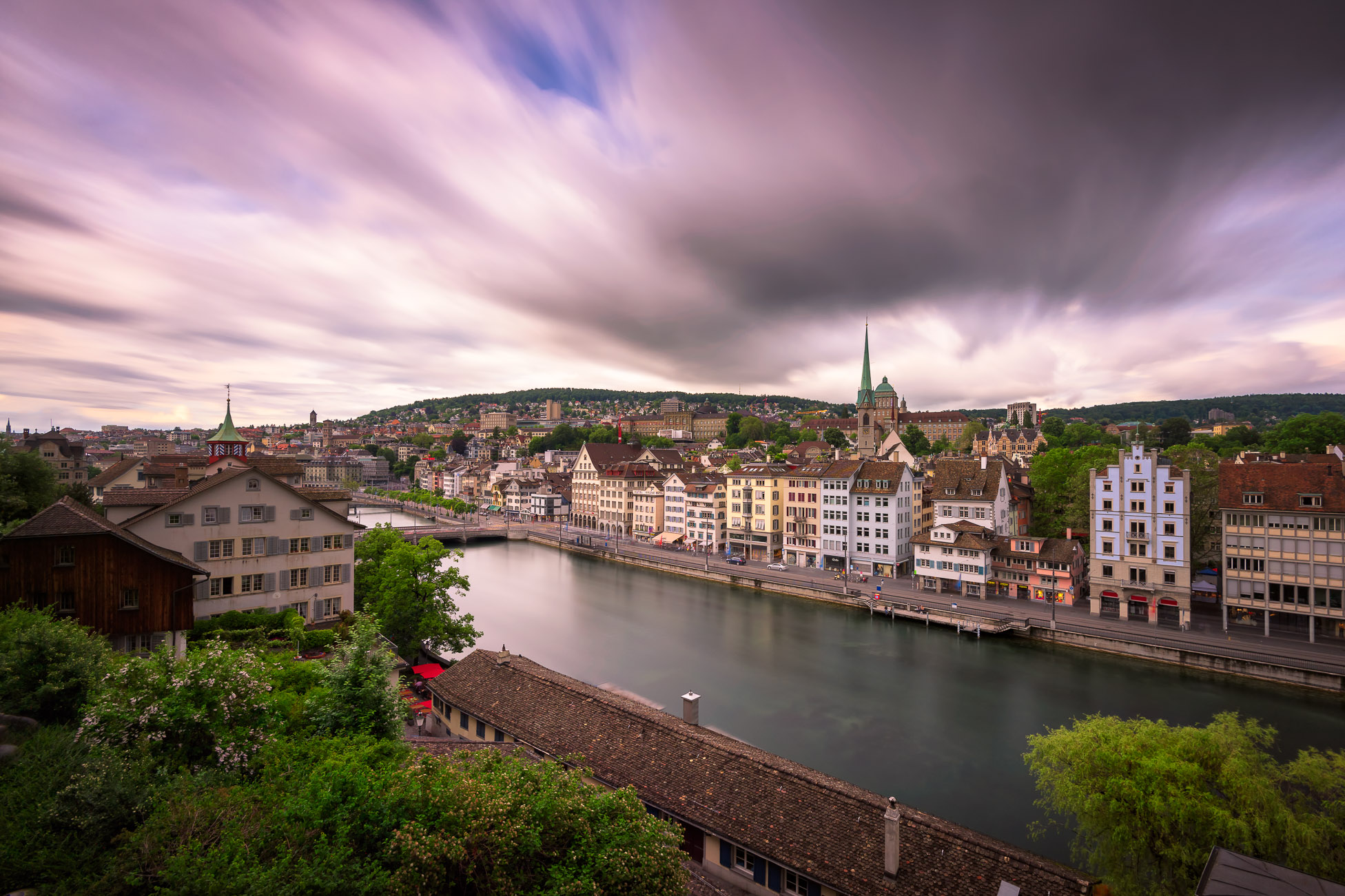 View of Zurich and Limmat River from Lindenhof Hill, Zurich, Switzerland