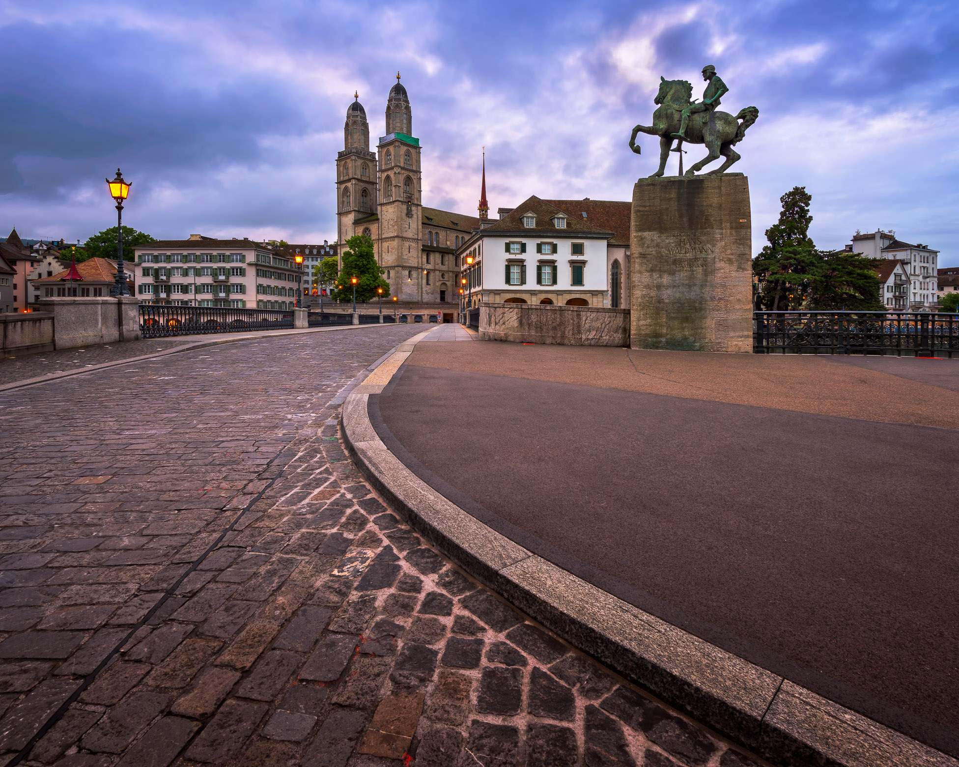 Grossmunster Church and Mayor Hans Waldmann Statue in the Morning, Zurich, Switzerland