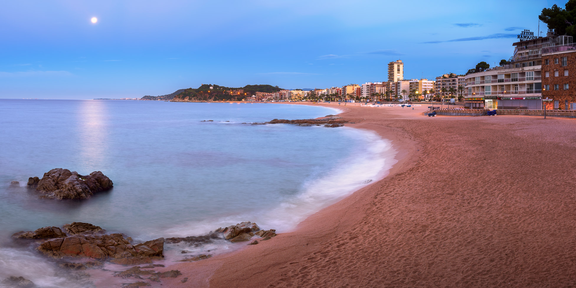 Panorama of Lloret de Mar Seafront in the Evening, Lloret de Mar, Catalonia, Spain