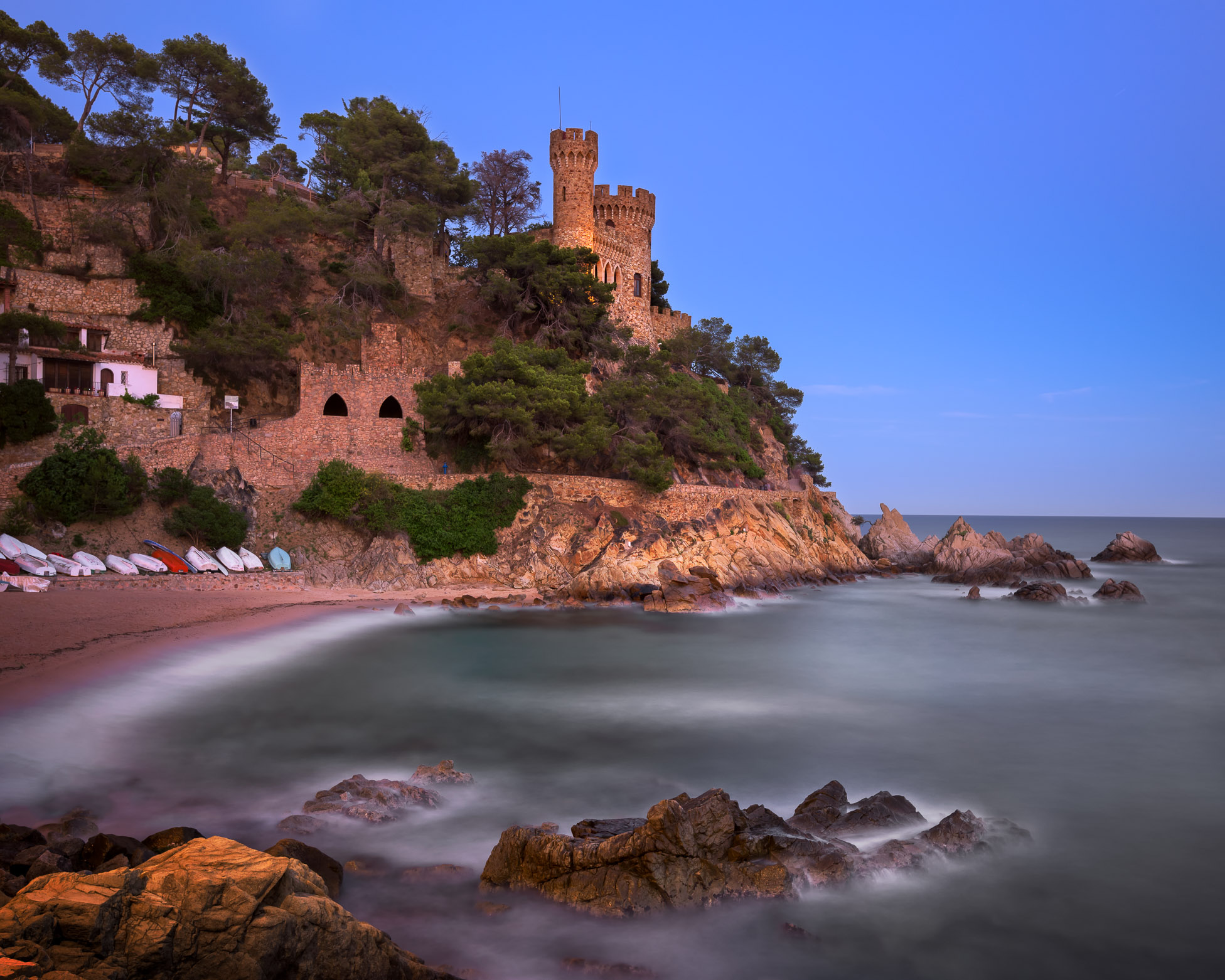 Castle on Lloret De Mar Beach in the Evening, Catalonia, Spain