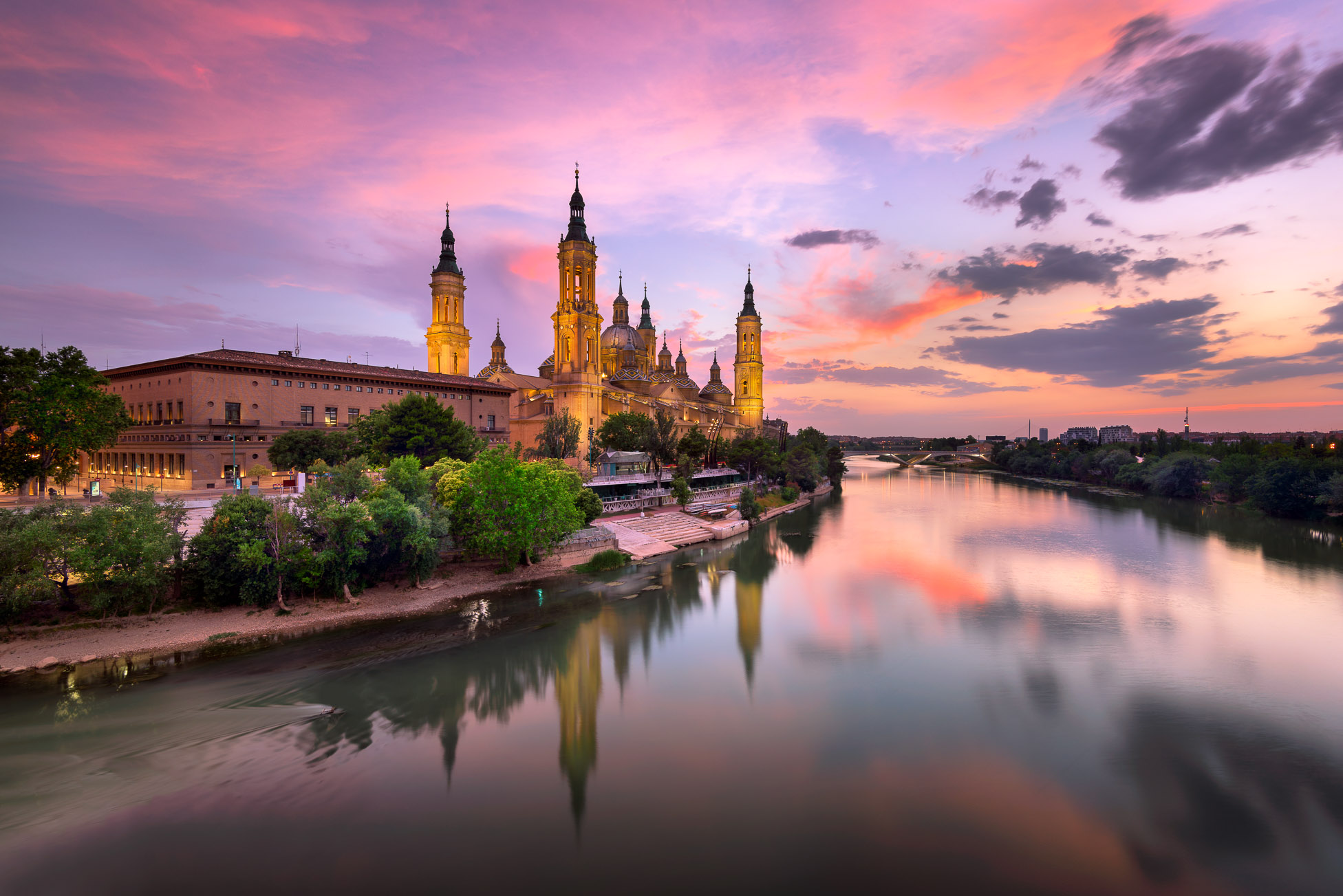 Basilica of Our Lady of the Pillar and Ebro River in the Evening, Zaragoza, Aragon, Spain