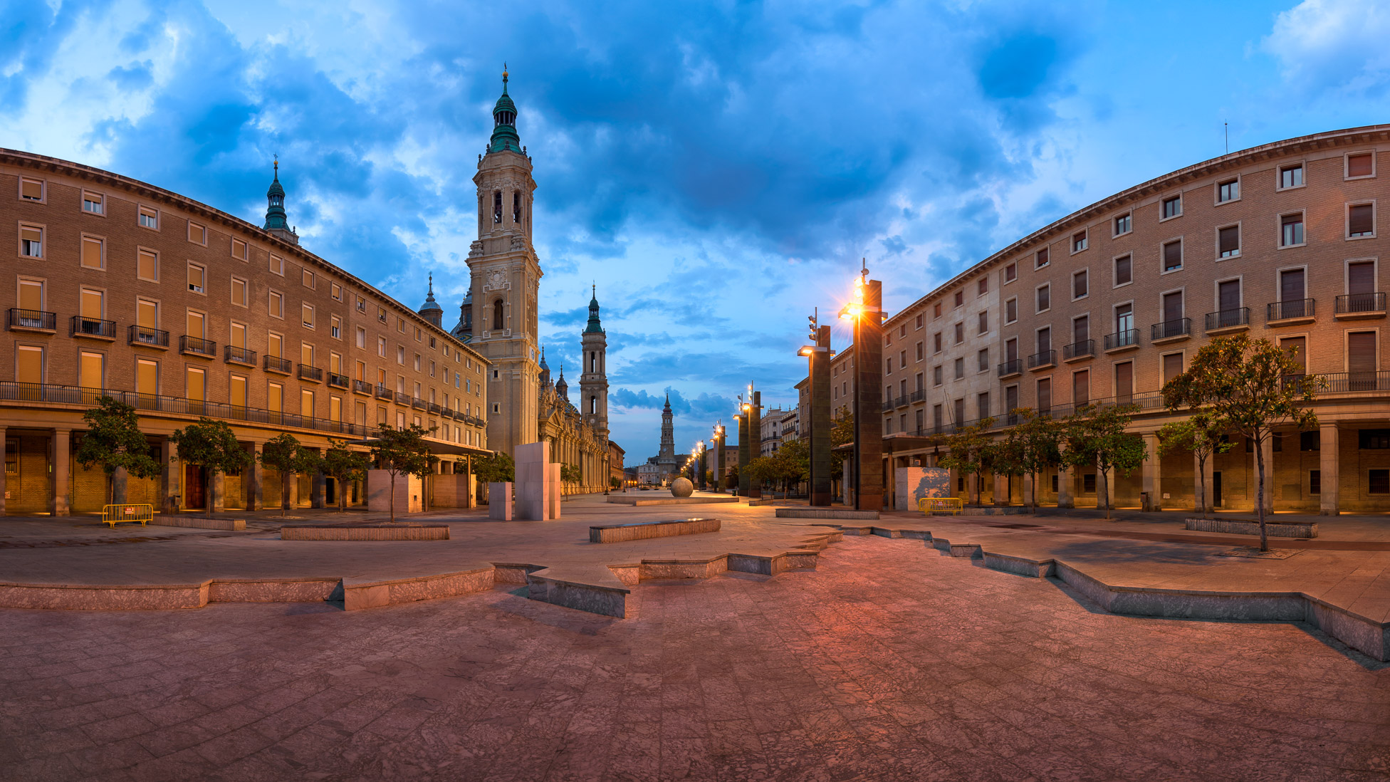 Panorama of Plaza del Pilar and Basilica of Our Lady of the Pillar in the Morning, Zaragoza, Aragon, Spain