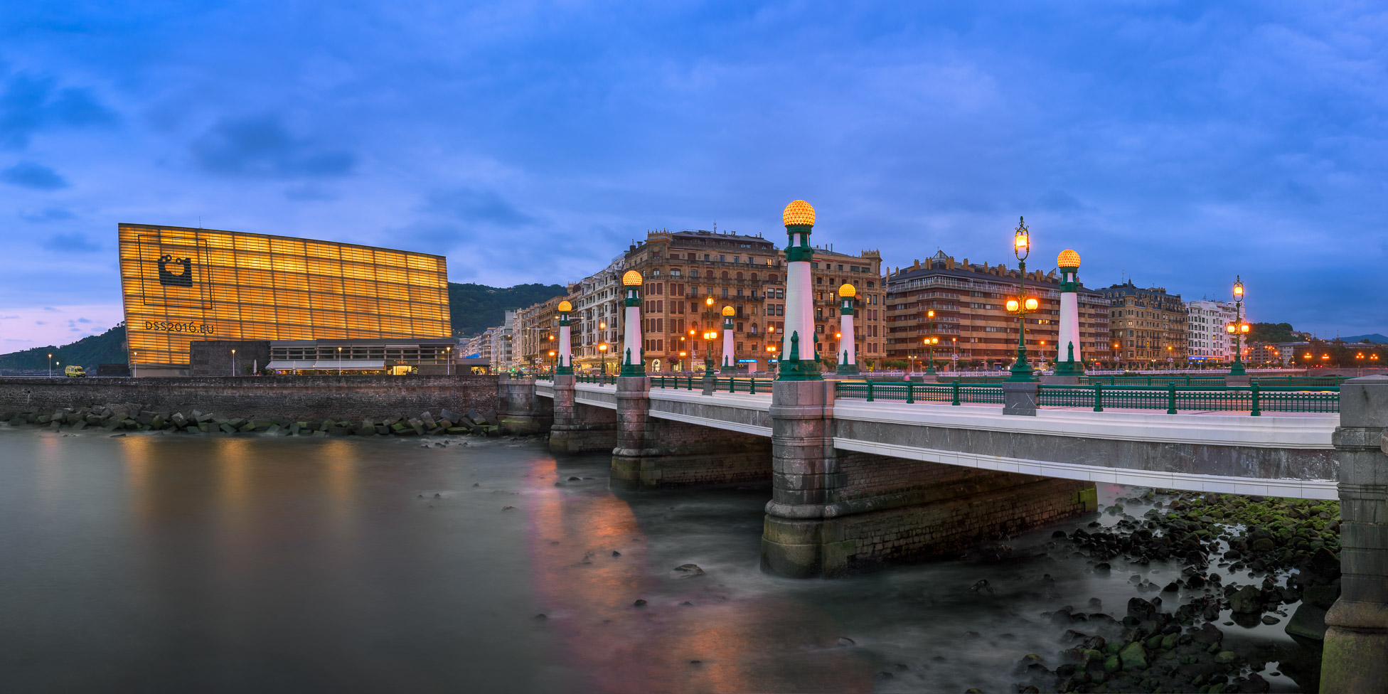 Kursaal Bridge and Urumea River Embankment in the Evening, San Sebastian, Spain