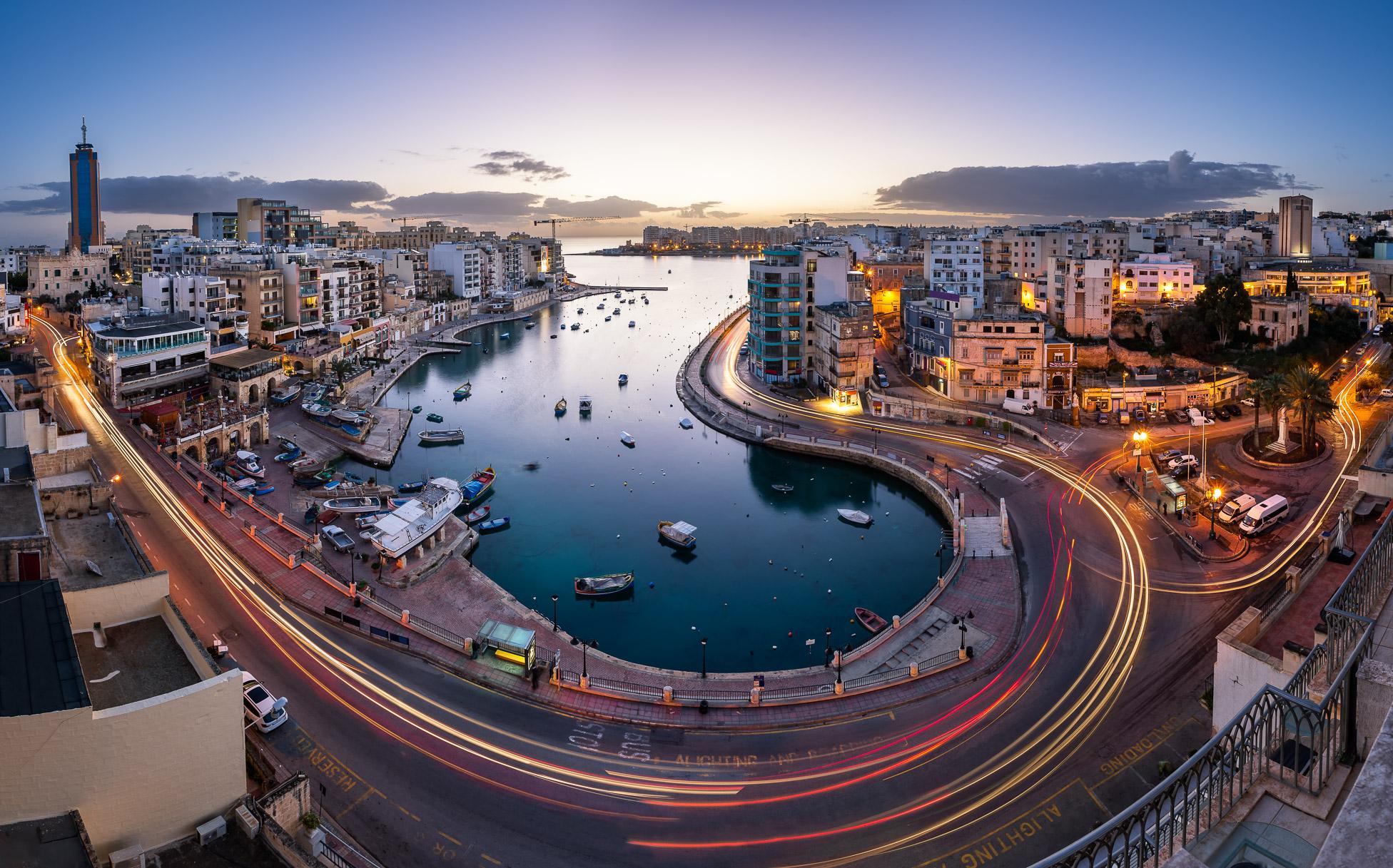 Panorama of Saint Julian and Spinola Bay at Dawn, Malta