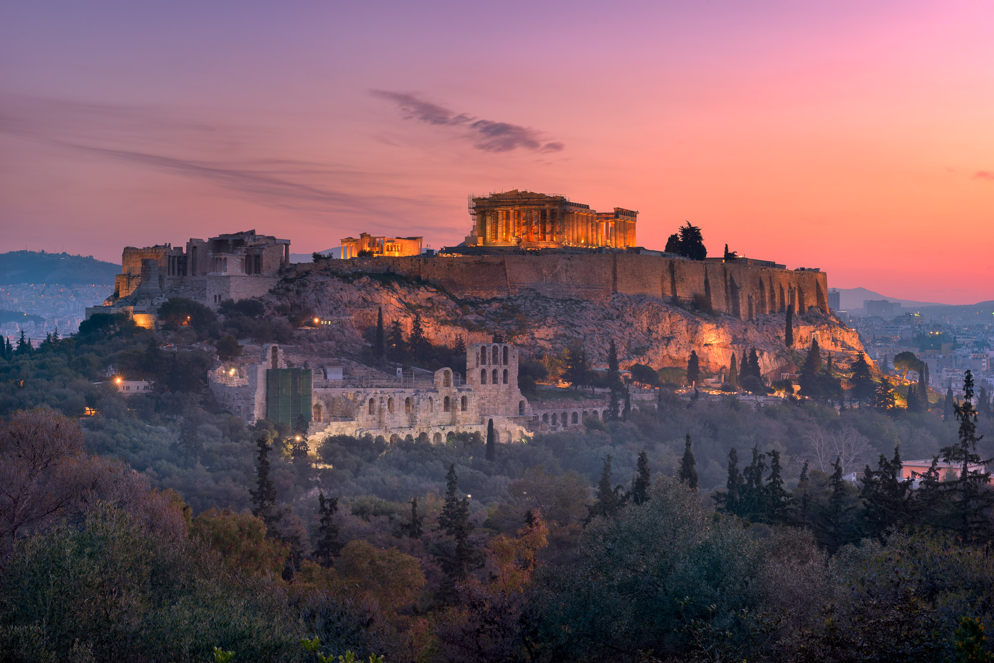 View of Acropolis from the Philopappos Hill in the Morning, Athens, Greece