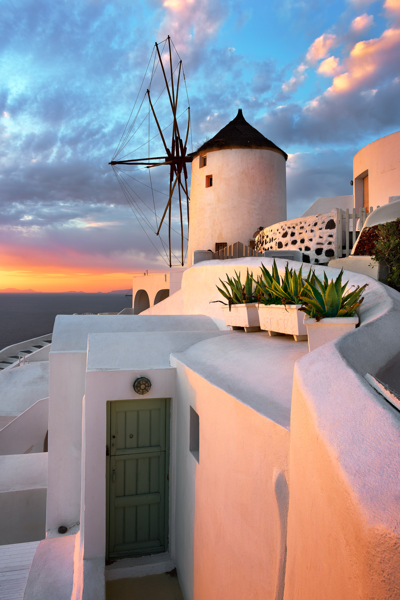 Windmill in Oia Village in the Evening, Santorini, Greece