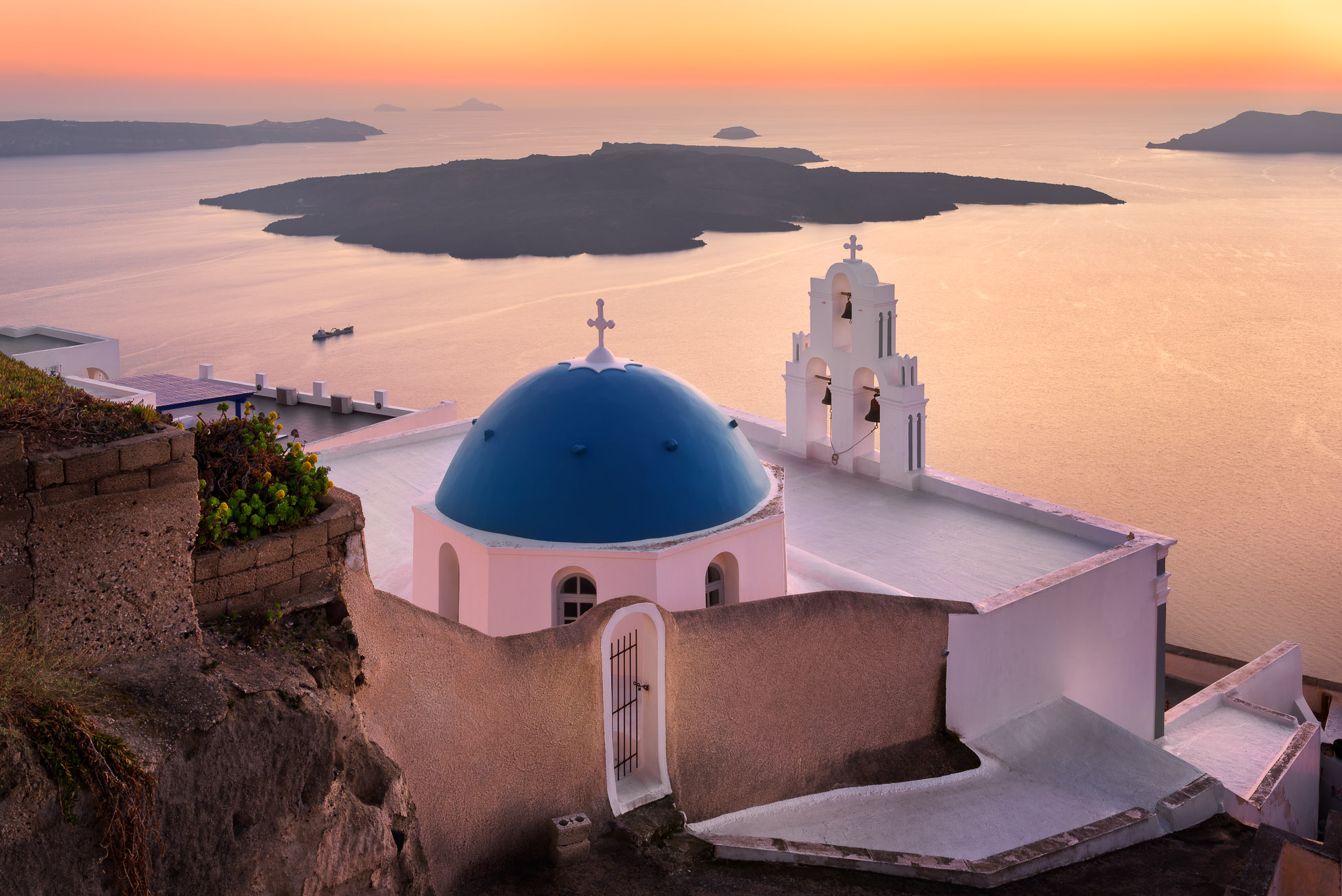 Saint Theodore Church in the Evening, Fira, Santorini, Greece