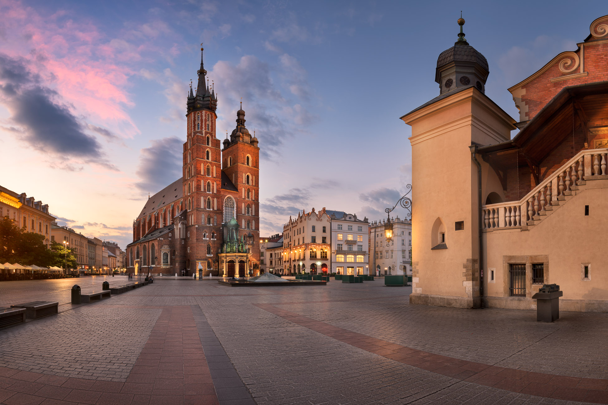 Panorama of Saint Mary Basilica in the Morning, Krakow, Poland