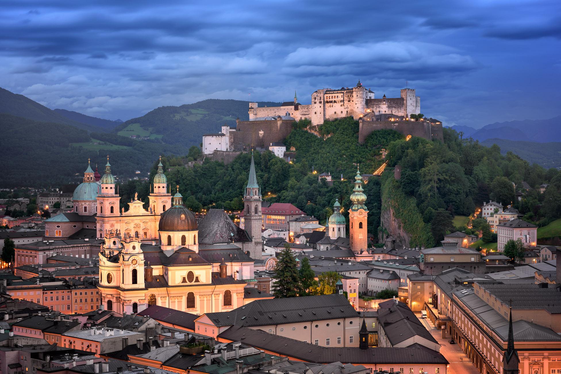 Aerial View of Salzburg in the Evening, Austria