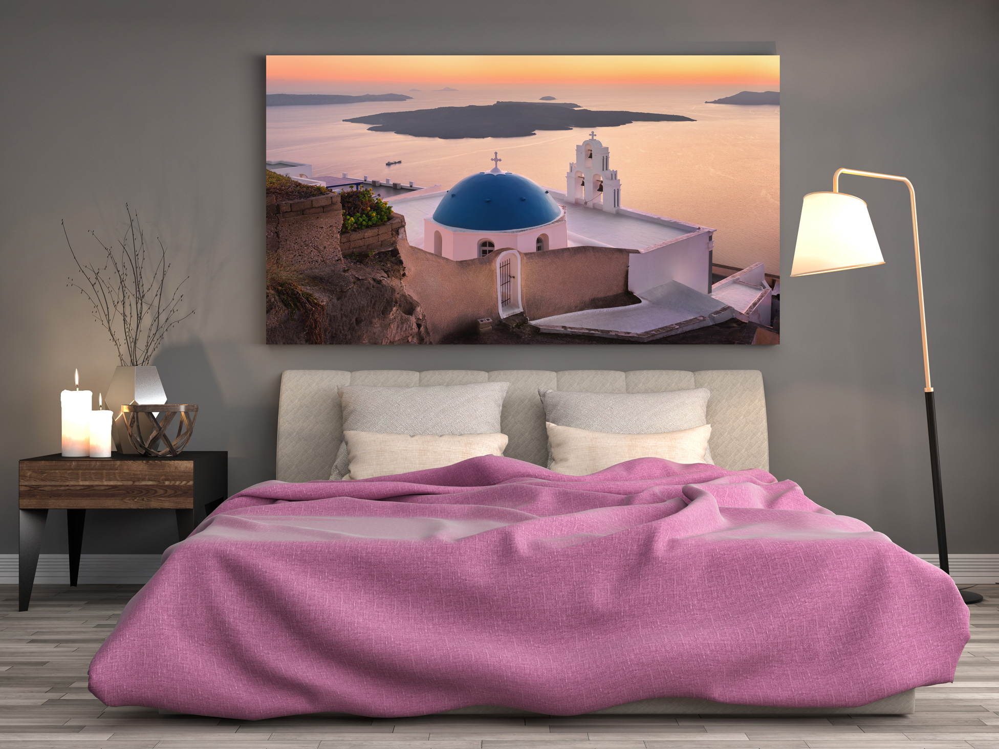 Room with Bed and Rome Fine Art Print above
