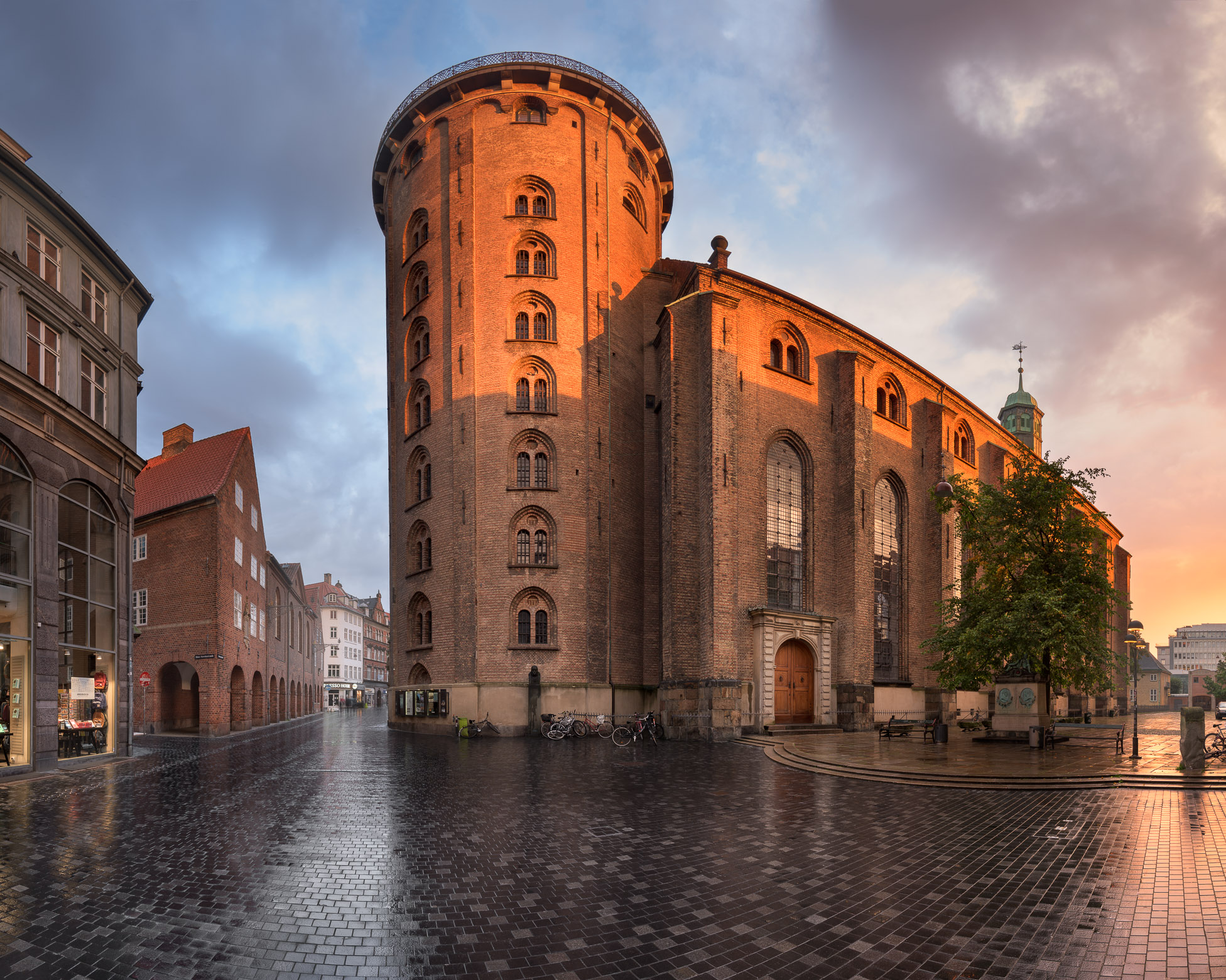 Panorama of the Round Tower in the Morning, Copenhagen, Denmark