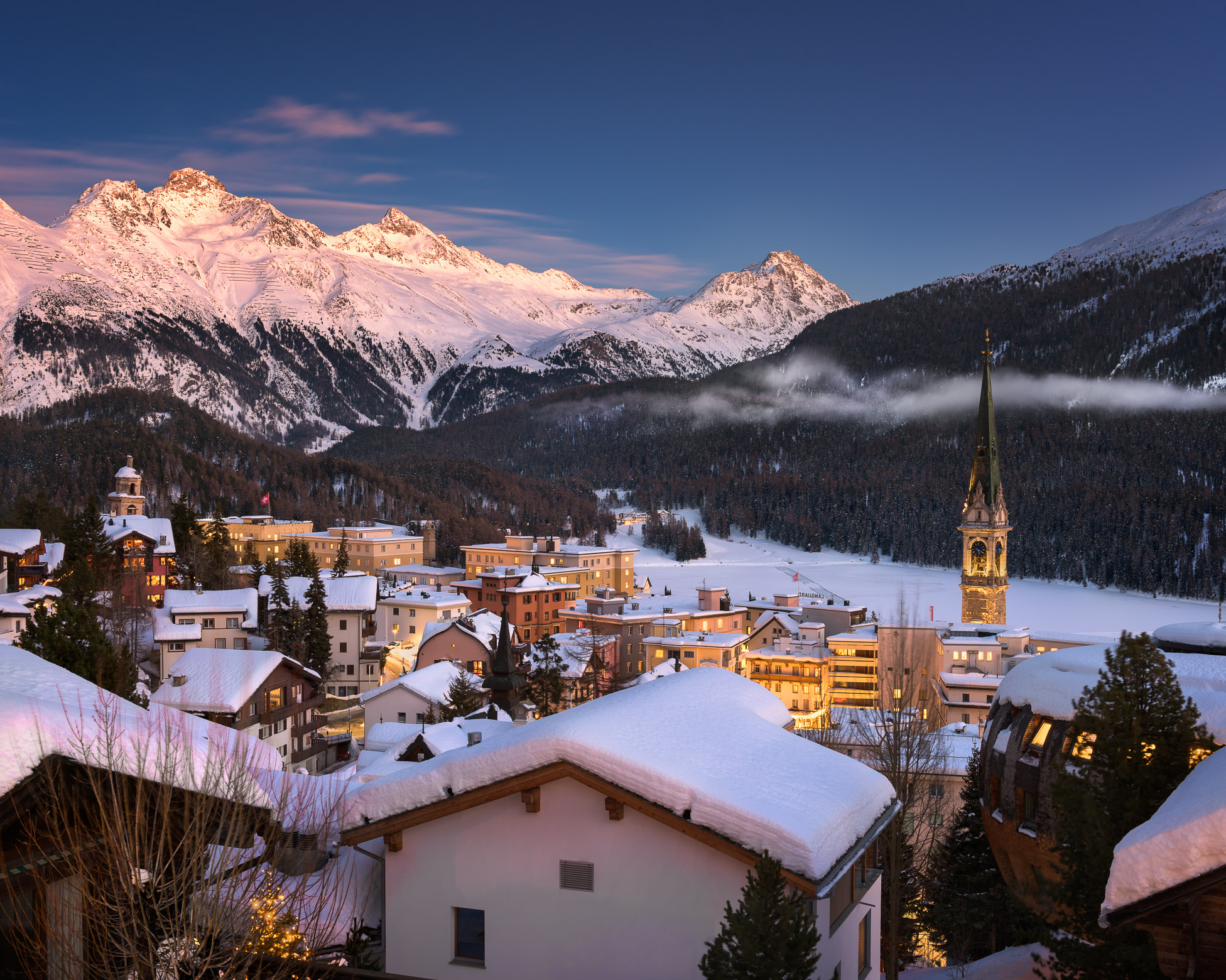 View of St Moritz in the Morning, Switzerland