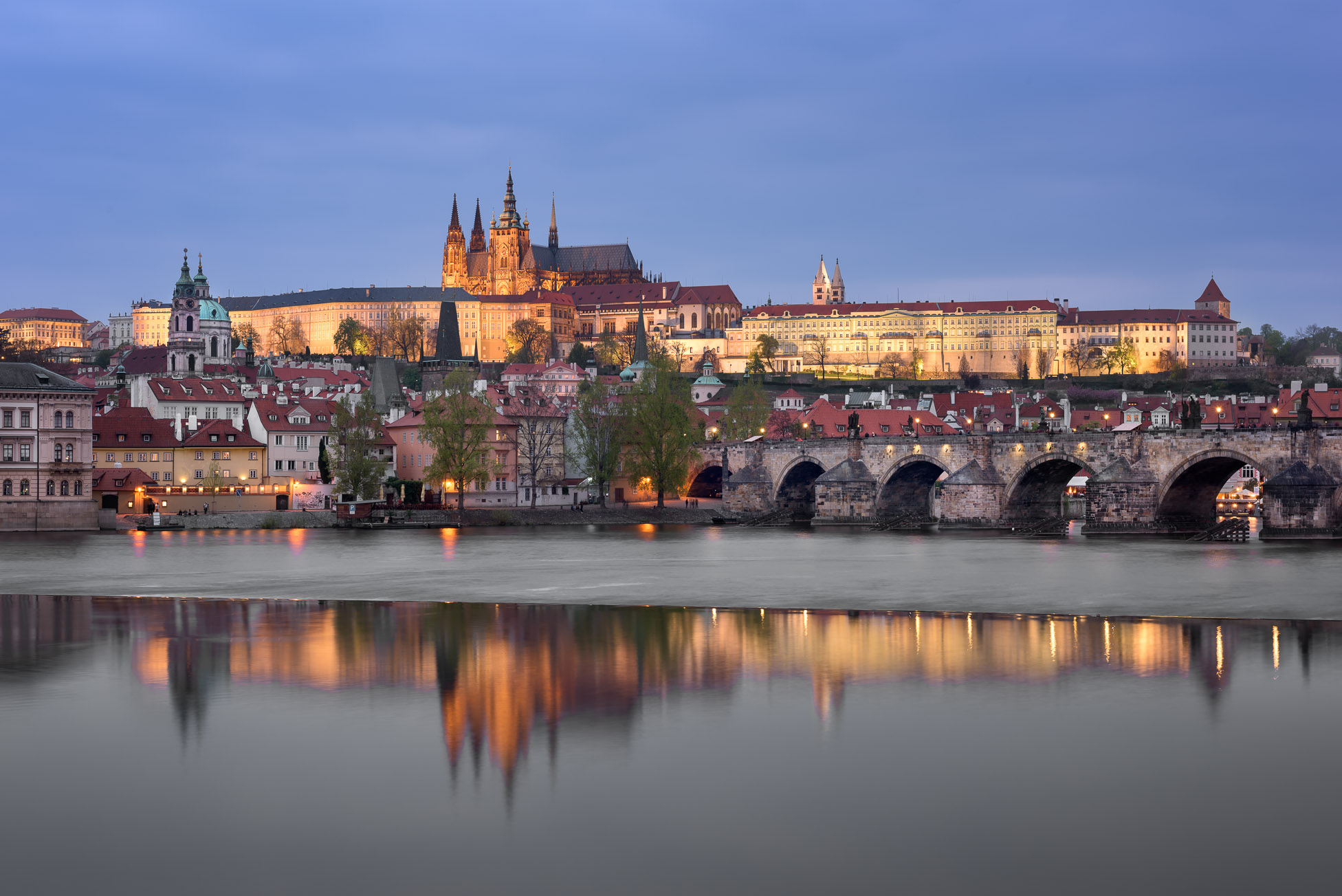 Prague Castle, Charles Bridge and Saint Vitus Cathedral in the Evening, Prague, Czech Republic