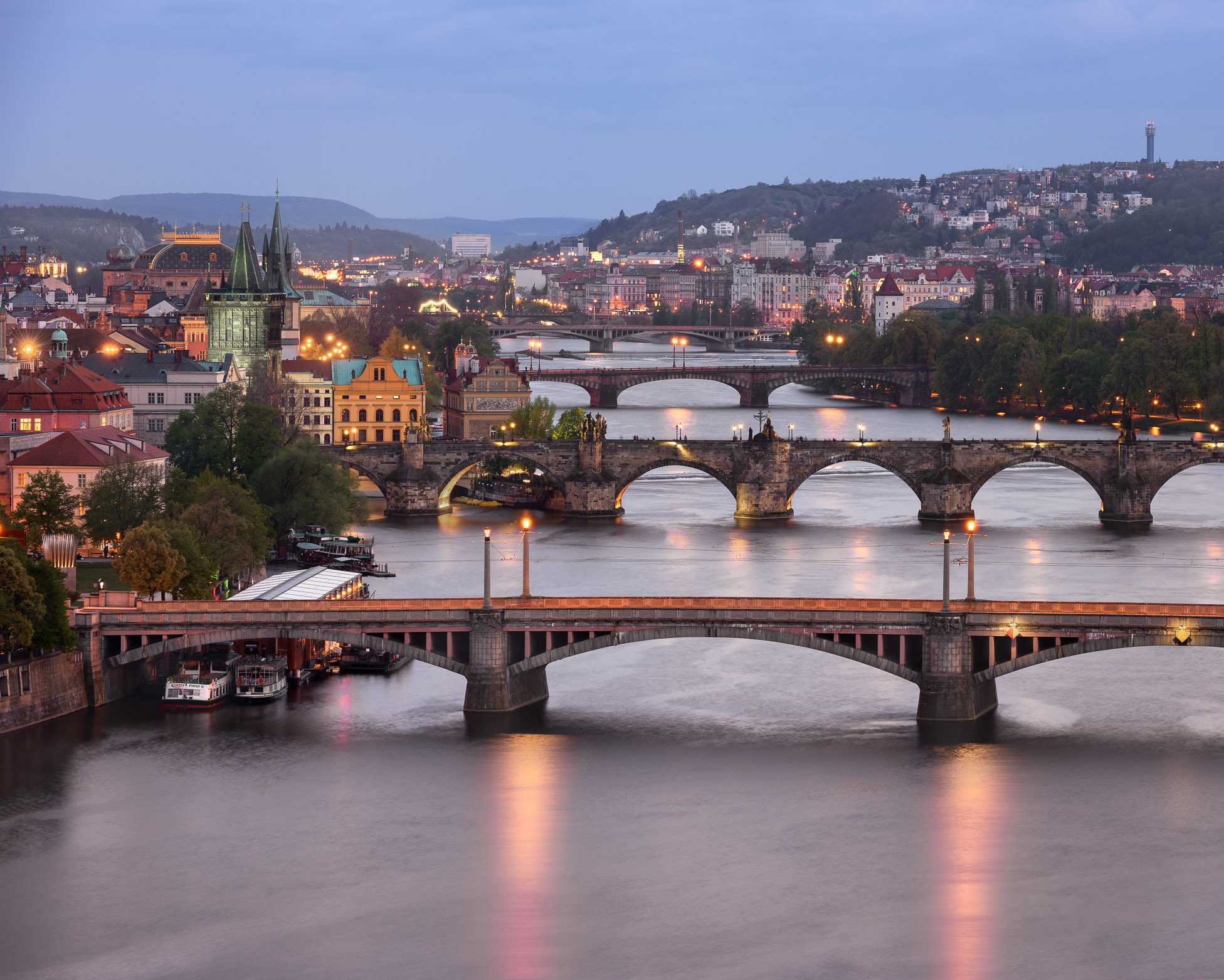 Vltava River and Prague Bridges photos