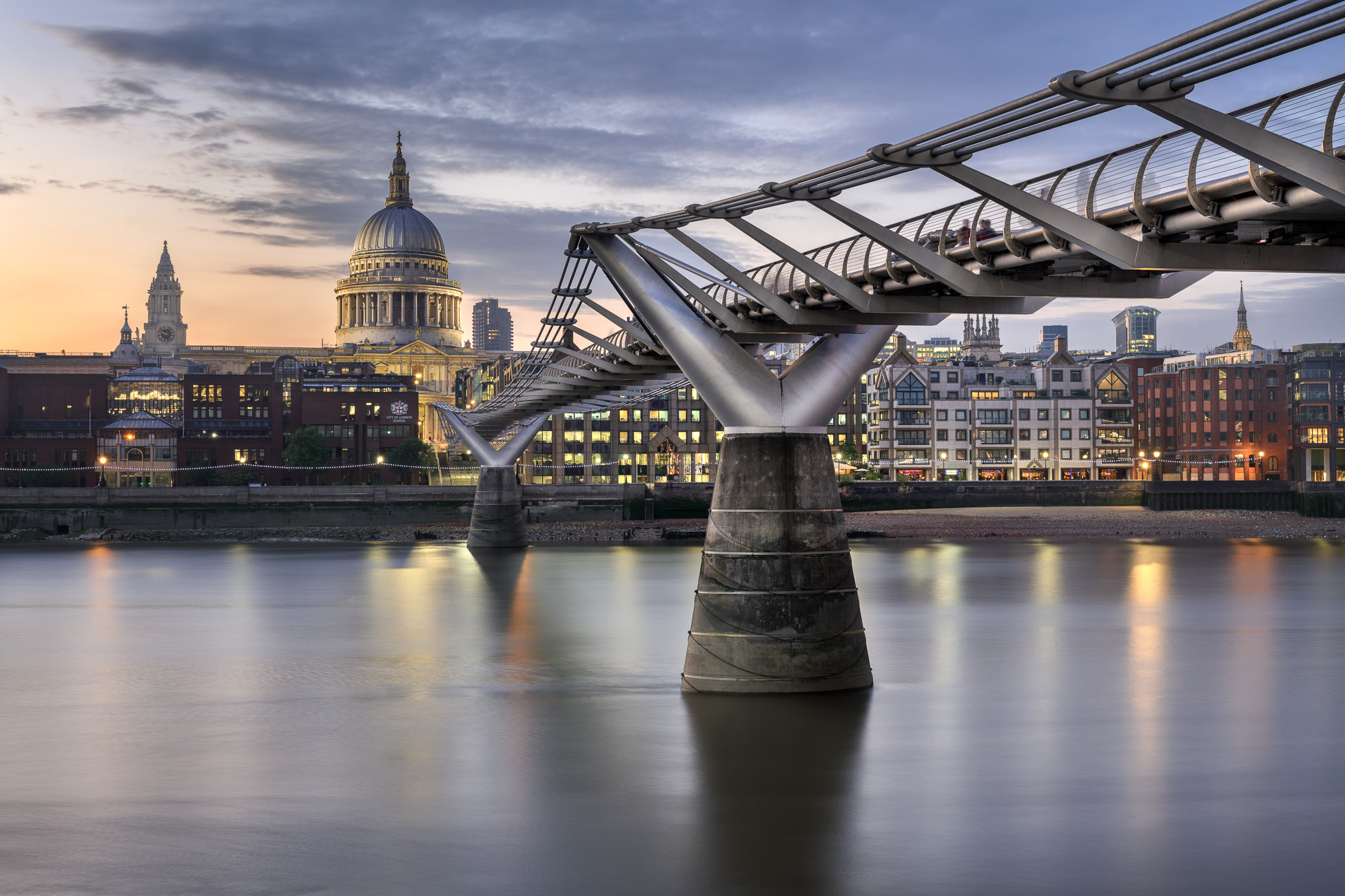 Millennium Bridge London and St Paul's Cathedral London