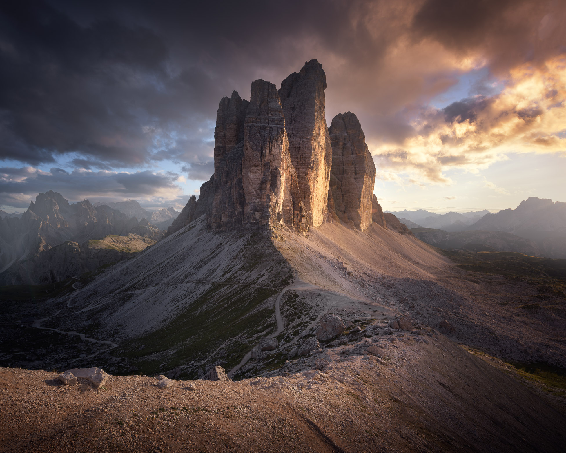 3 Cime di Lavaredo at Beautiful Sunset