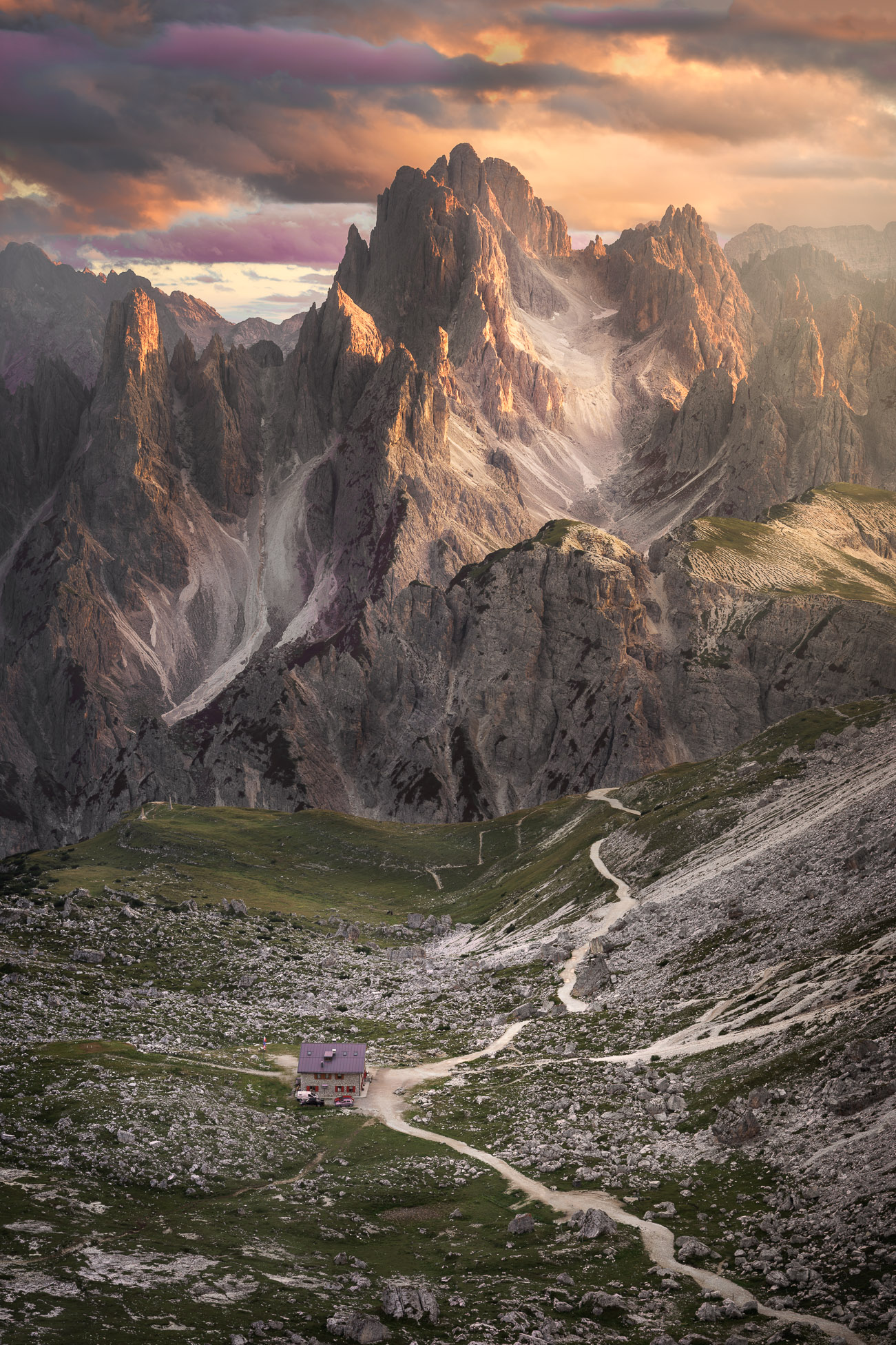 Refugio Lavaredo at Sunset, The Tre Cime Natural Park, Sexten Dolomites, Italy