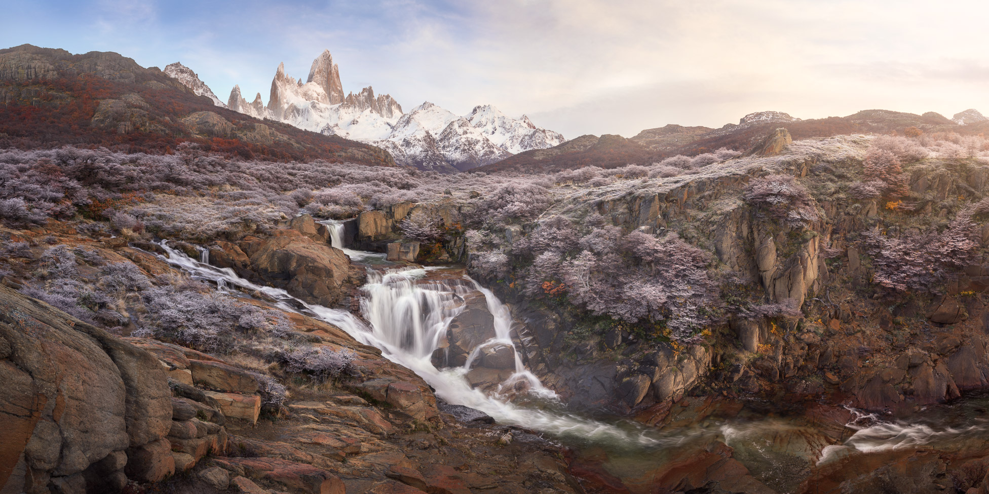 Panorama of Rio De la Cascada and Fitz Roy in the Morning, Los Glaciares National Park, Argentina