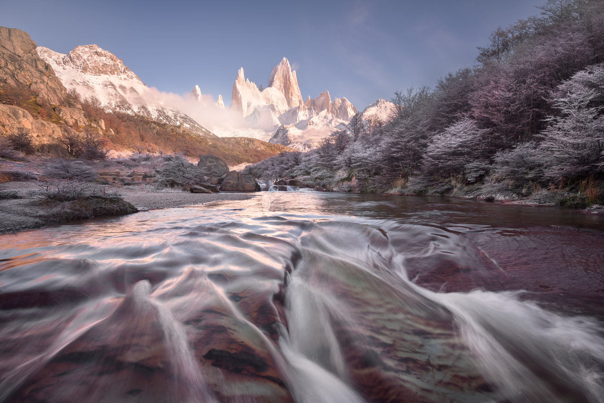 Rio De la Cascada and Fitz Roy in the Morning, Los Glaciares National Park, Argentina