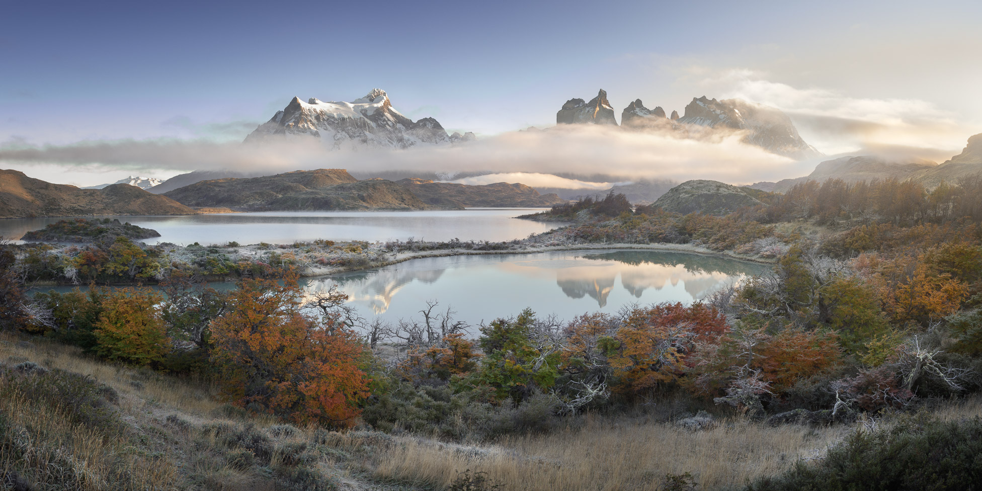 Panorama of Pehoe Lake and Cuernos Peaks in the Morning, Torres del Paine National Park, Chile