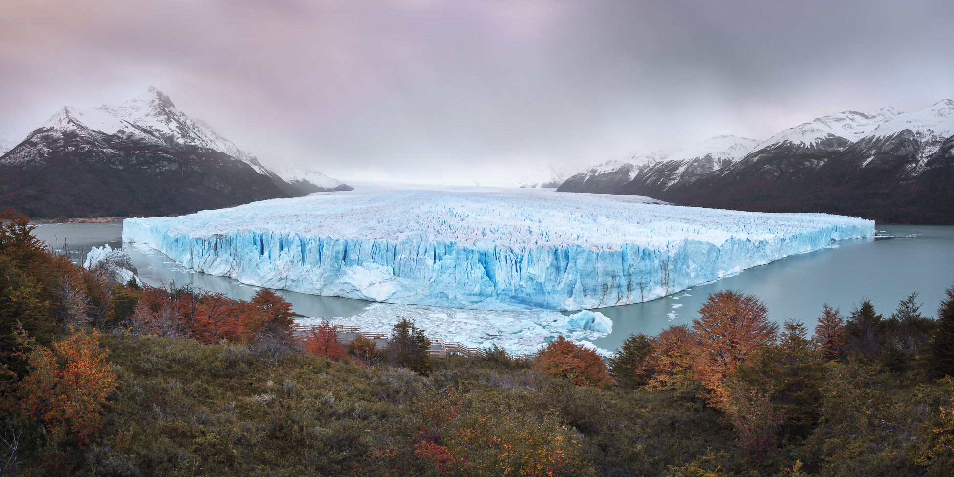 Panorama of Perito Moreno Glacier in the Evening, Santa Cruz Province, Argentina