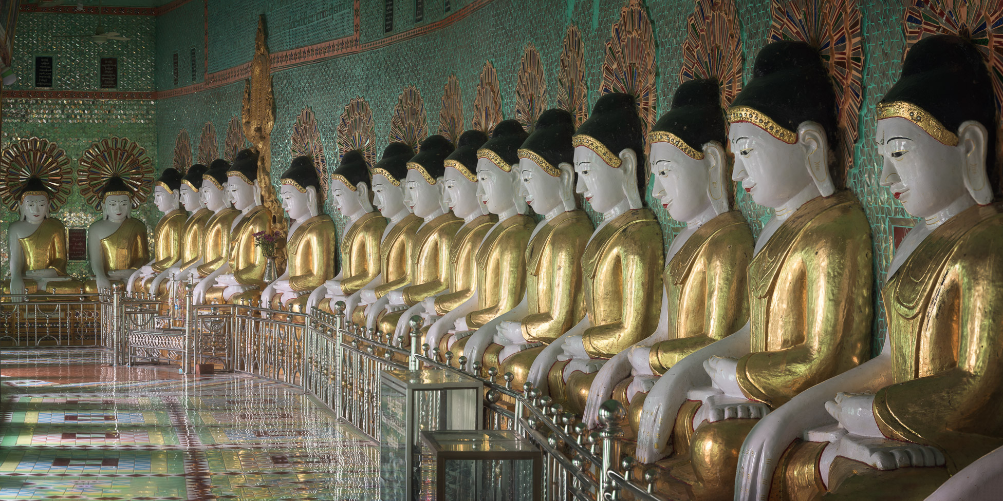 Line of Buddhas in U Min Thonze Caves, Sagaing Hill, Myanmar