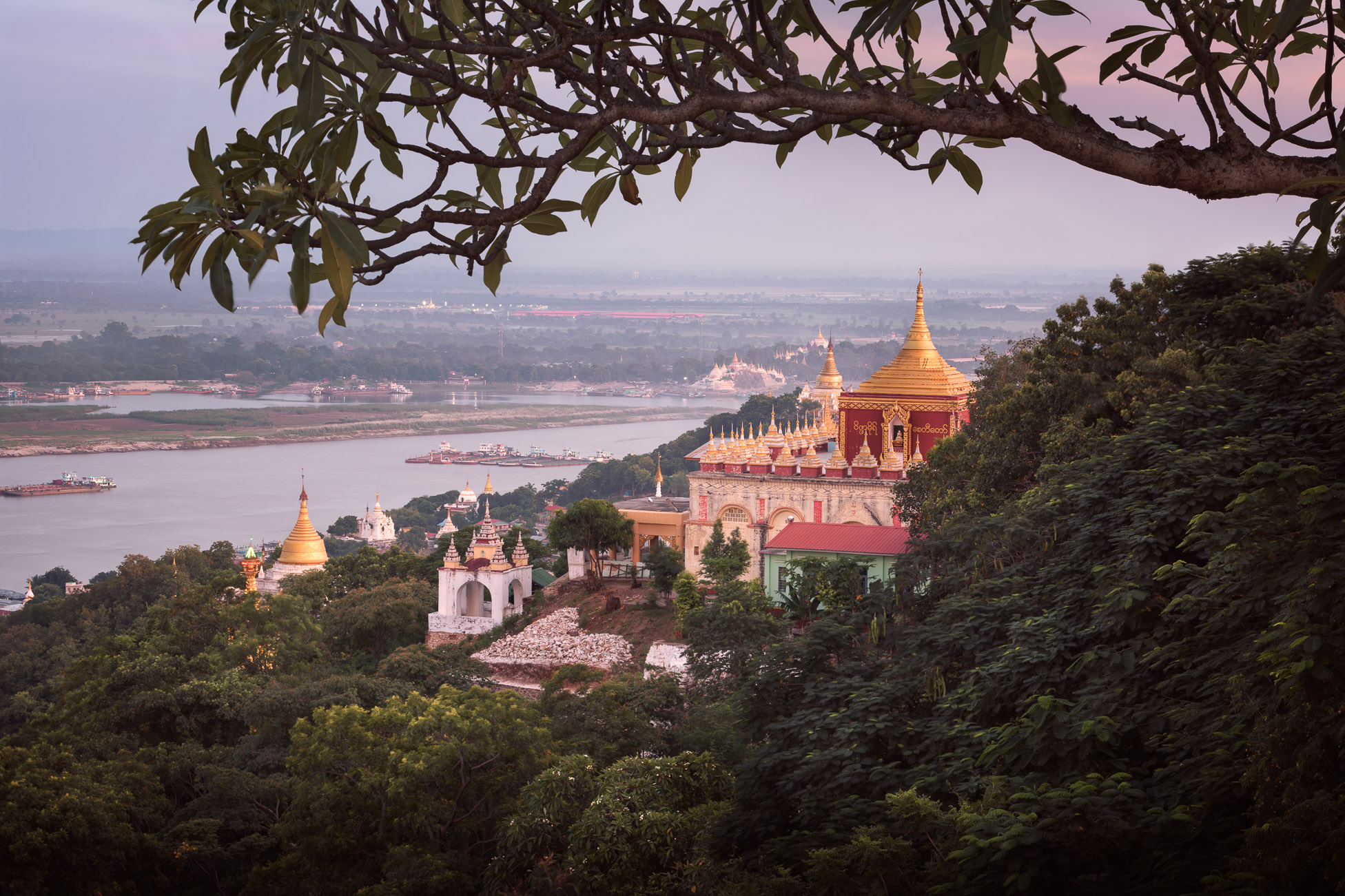 Sedi La Su Taung Pyae Pagoda and Irrawaddy River in the Evening, Sagaing Hill, Myanmar