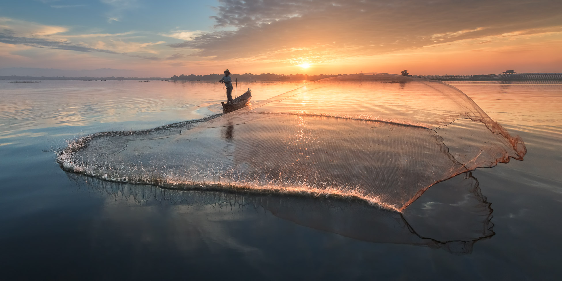 Fisherman Throwing Net Early in the Morning, Taung Tha Man Lake, Mandalay, Myanmar