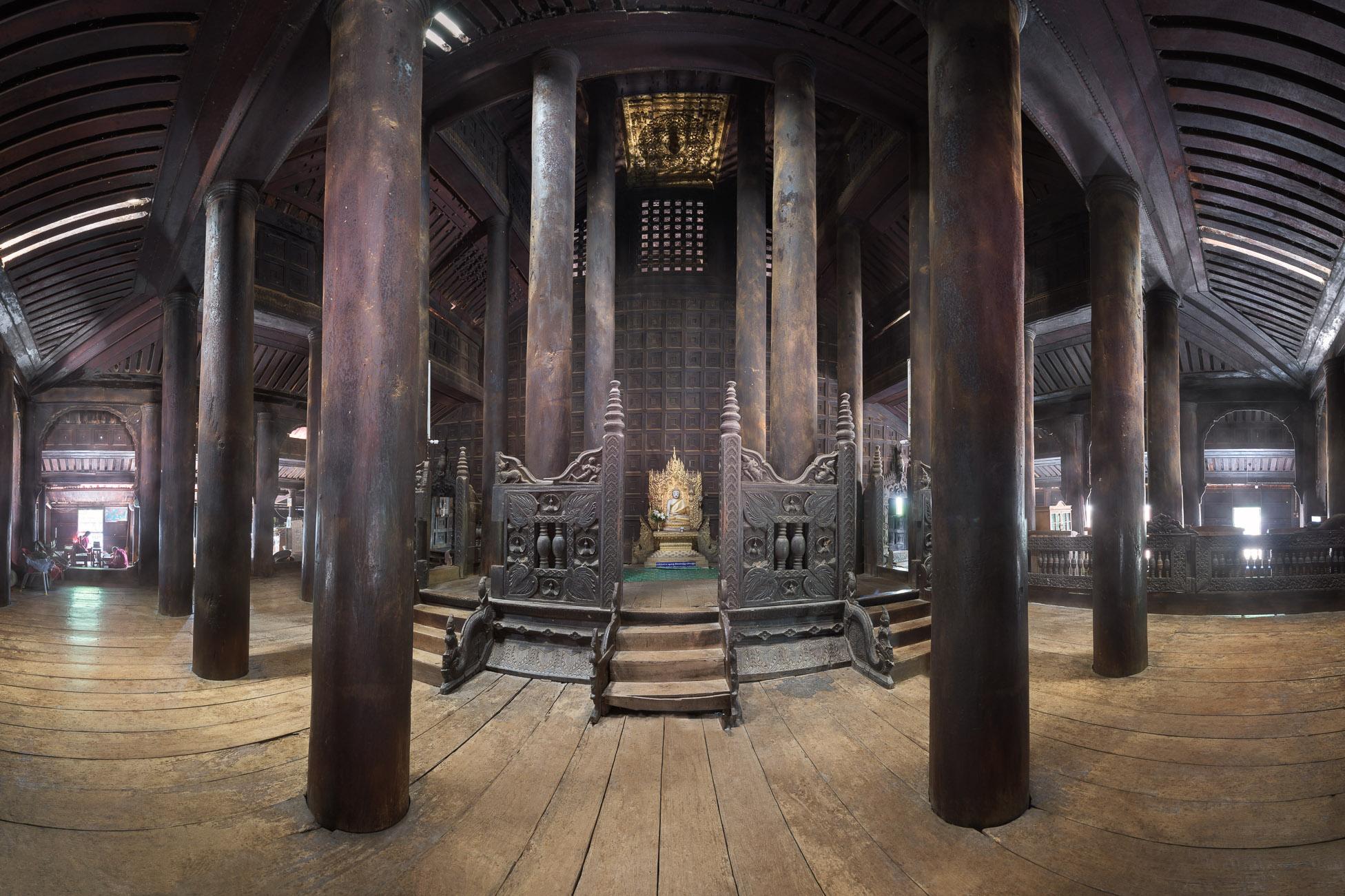 Teak Wood Interior of Bagaya Monastery, Inwa, Myanmar