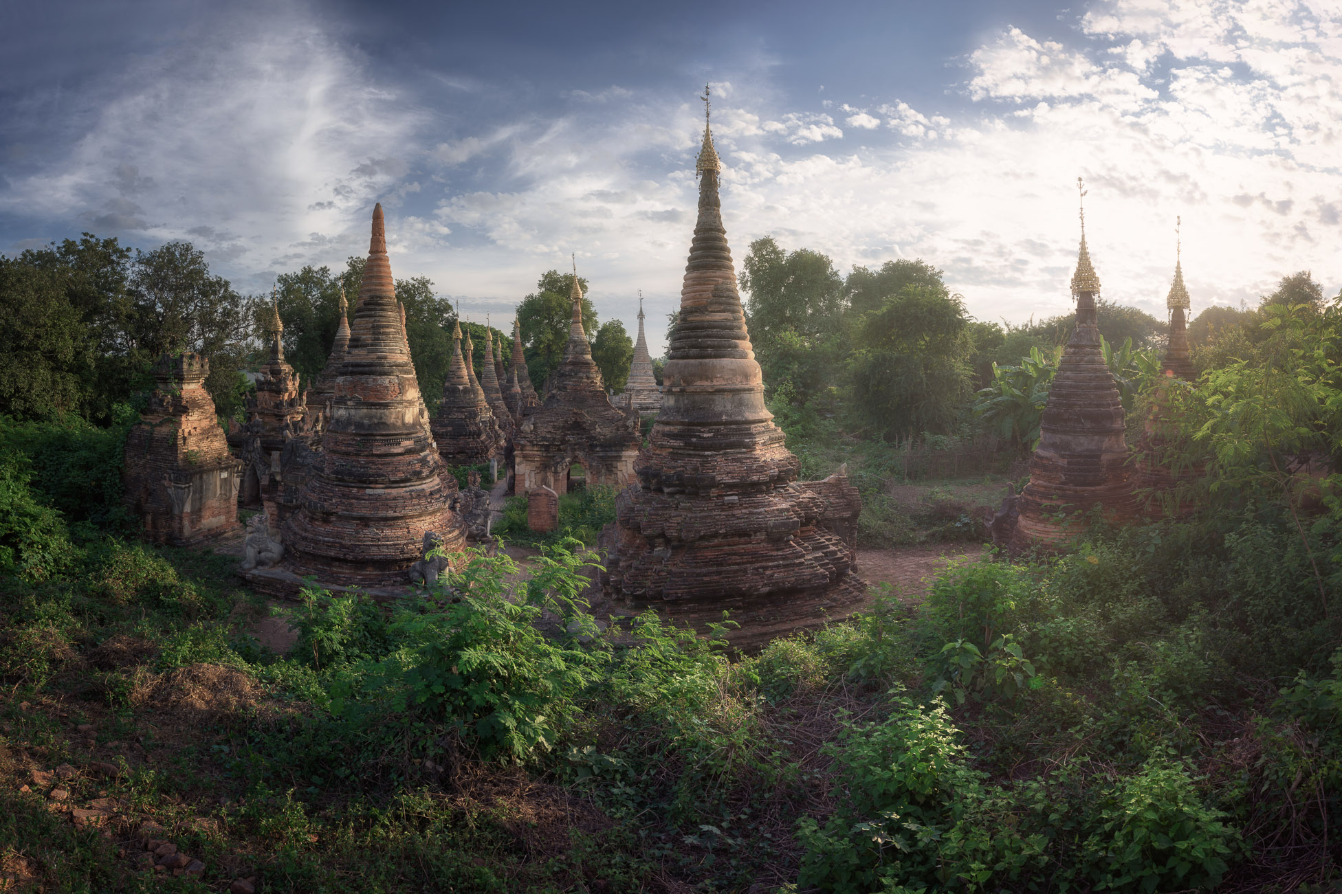 Ancient Pagoda Complex in the Evening, Inwa, Myanmar