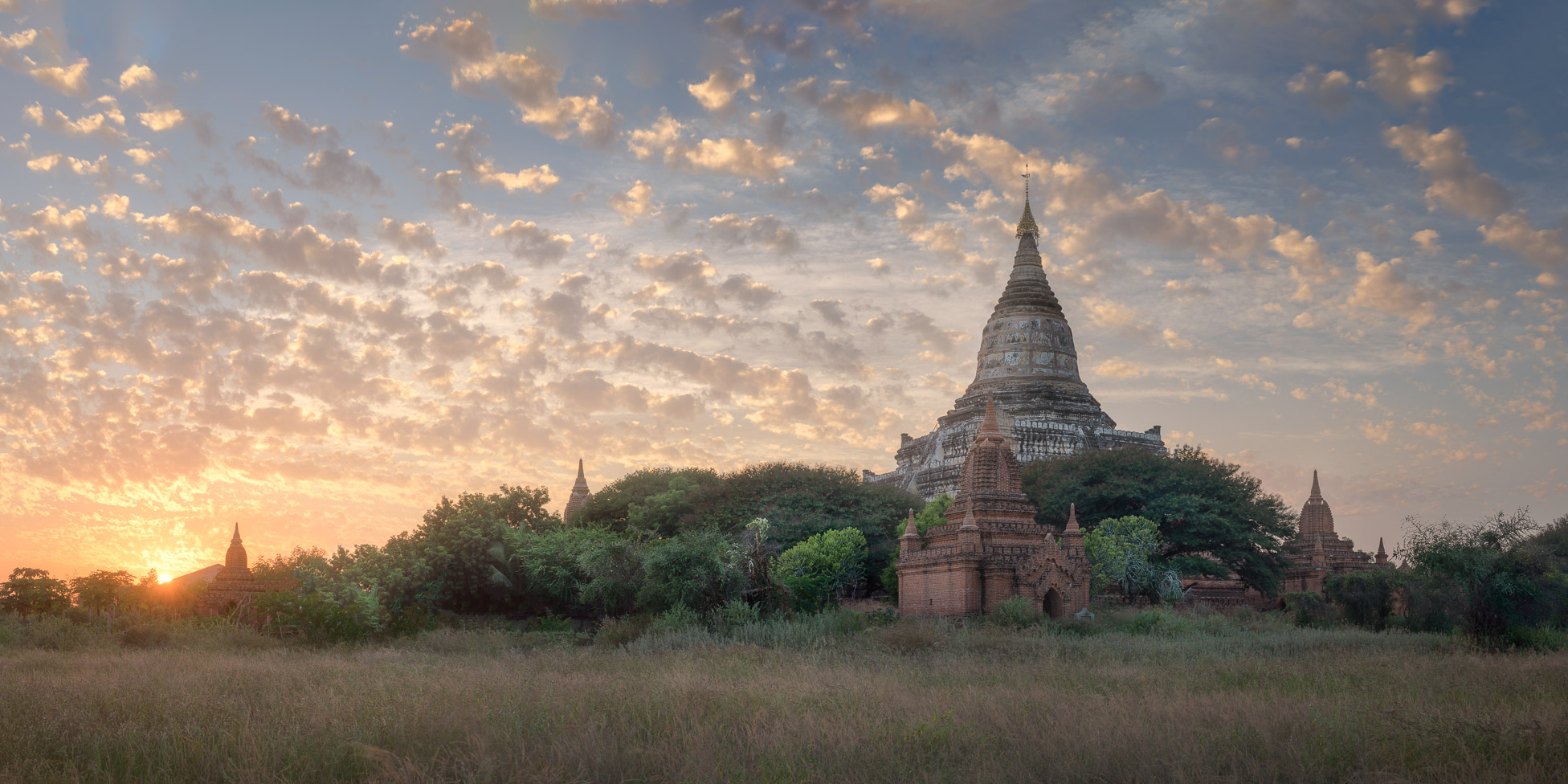 Panorama of Shwesandaw Pagoda at Sunset, Bagan, Myanmar