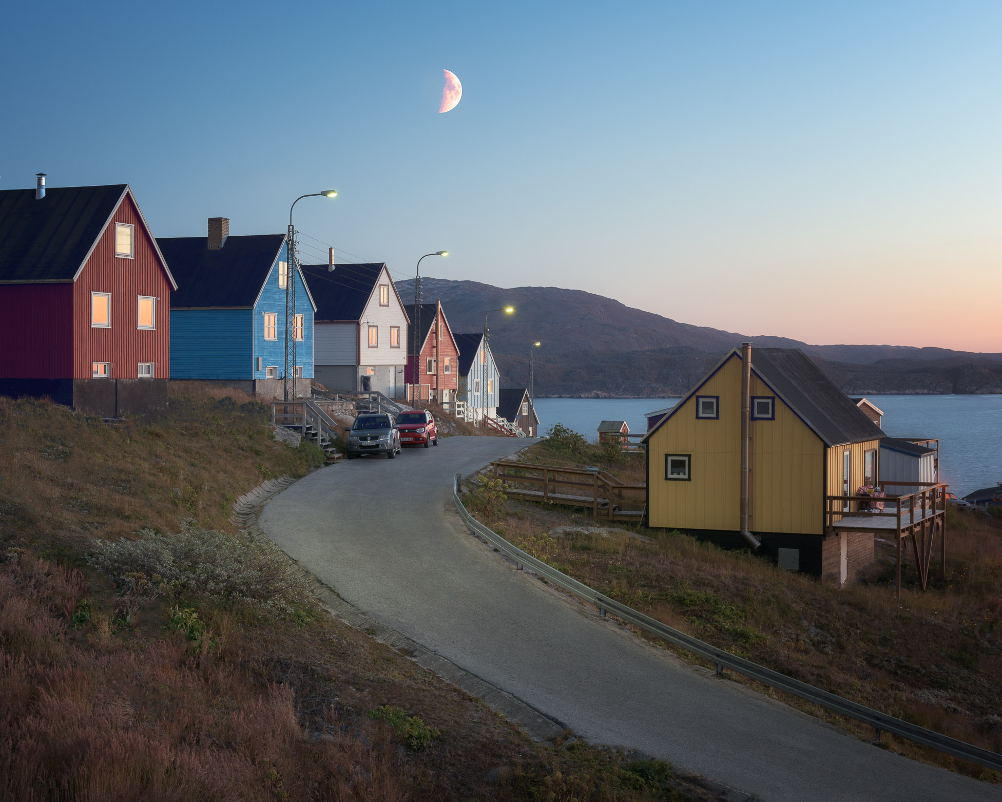 Town of Qaqortoq in the Evening, South Greenland